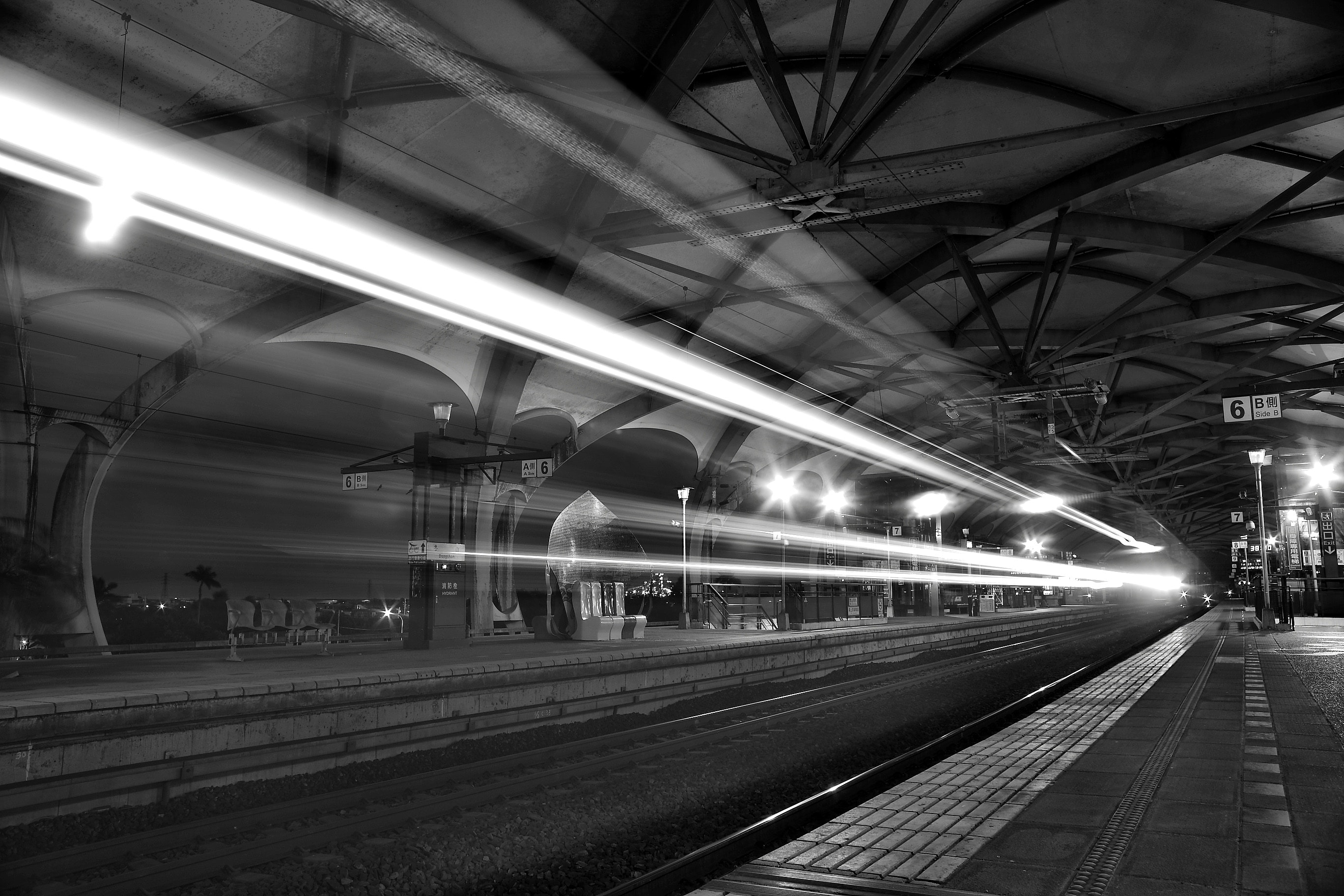 Timelapse Photo of Greyscale Train Passing by, Black-and-white, Light, Light streaks, Perspective, HQ Photo
