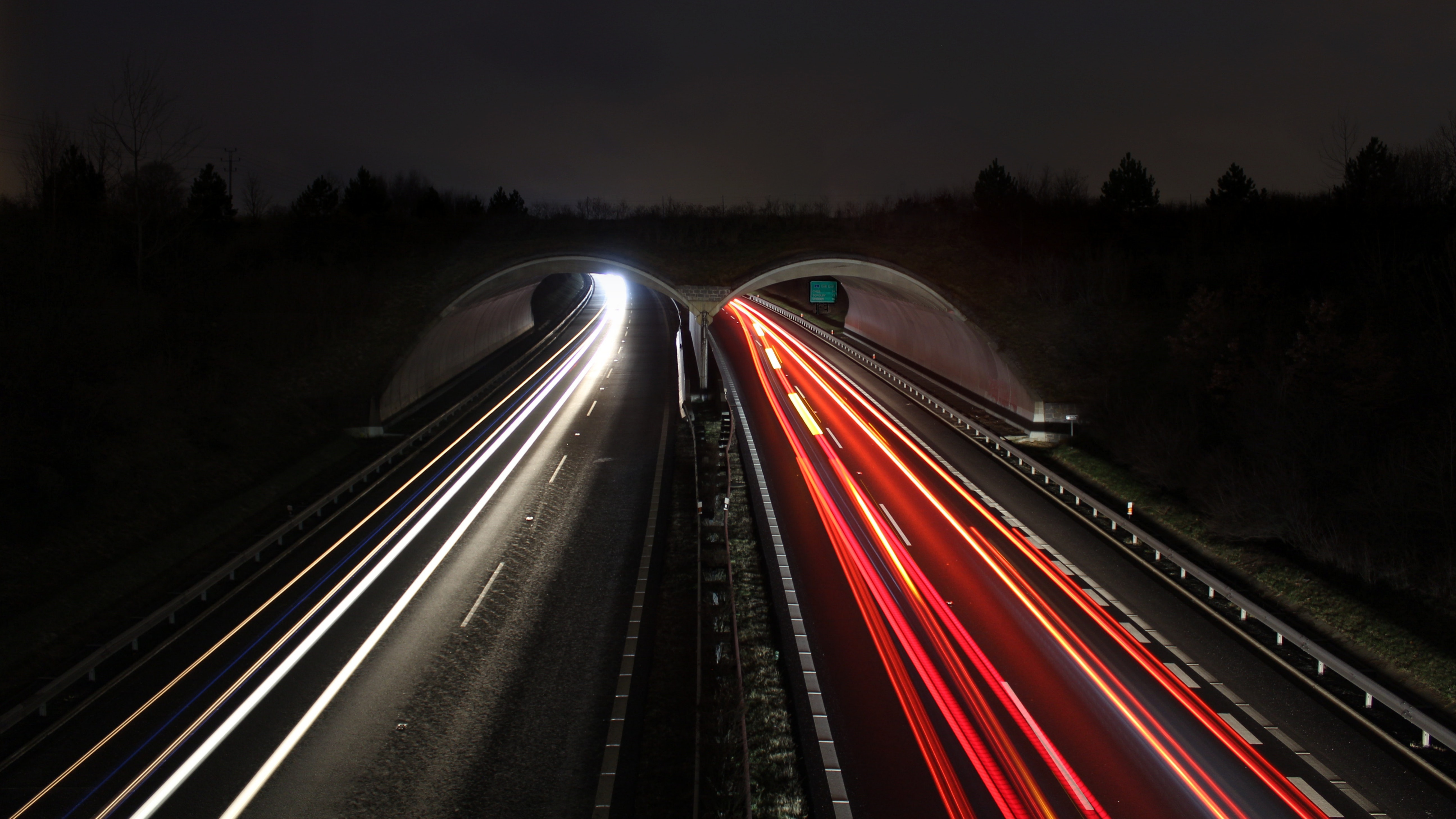 Timelapse Photograph of Highway, Asphalt, Motion, Trees, Time-lapse, HQ Photo