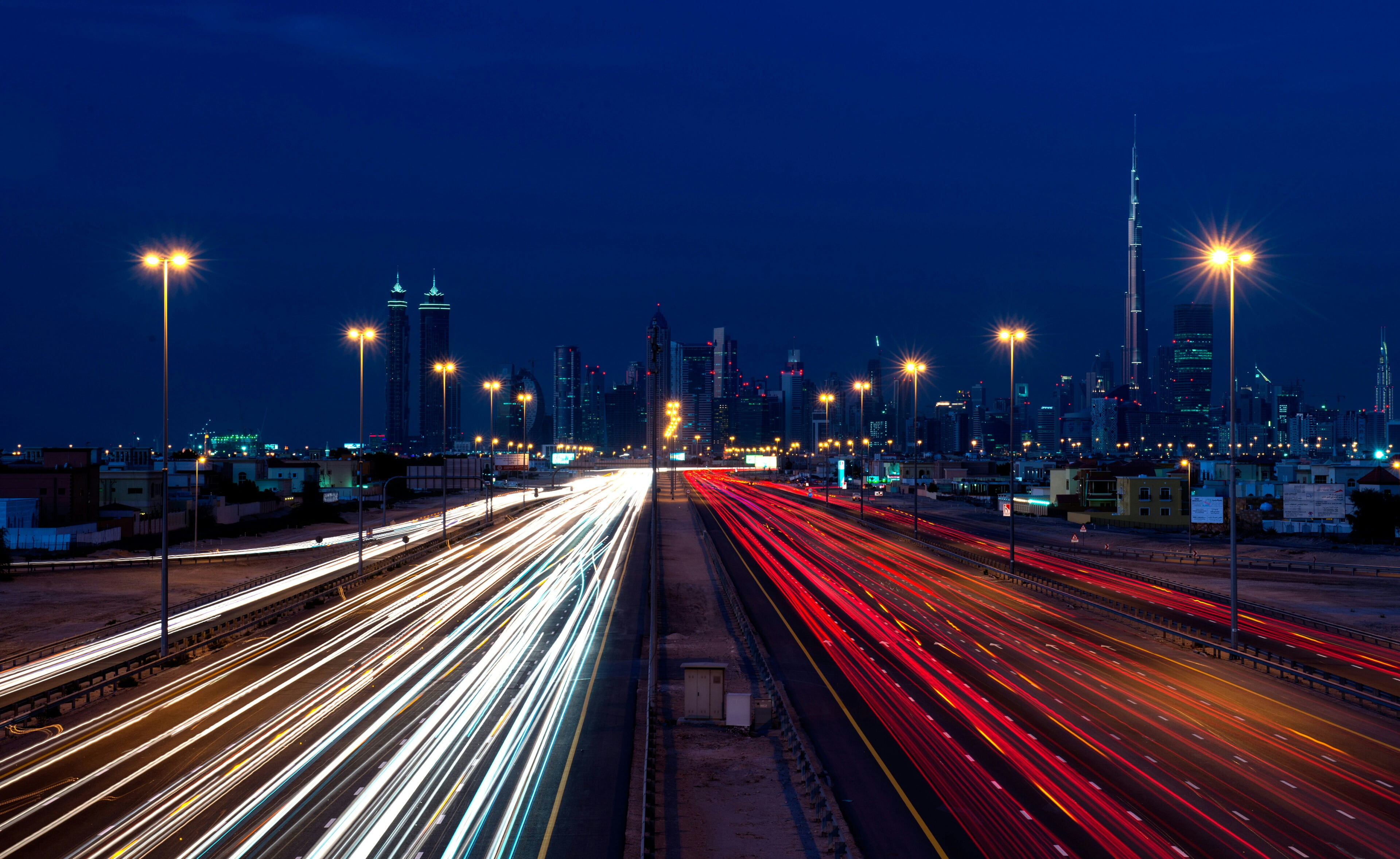Time lapse photography of city highway with cars traveling during ...