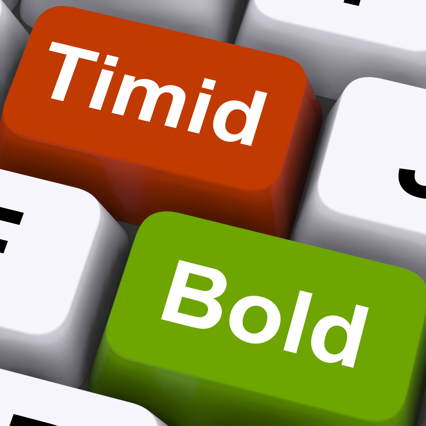 Timid bold keys show shy or outspoken photo