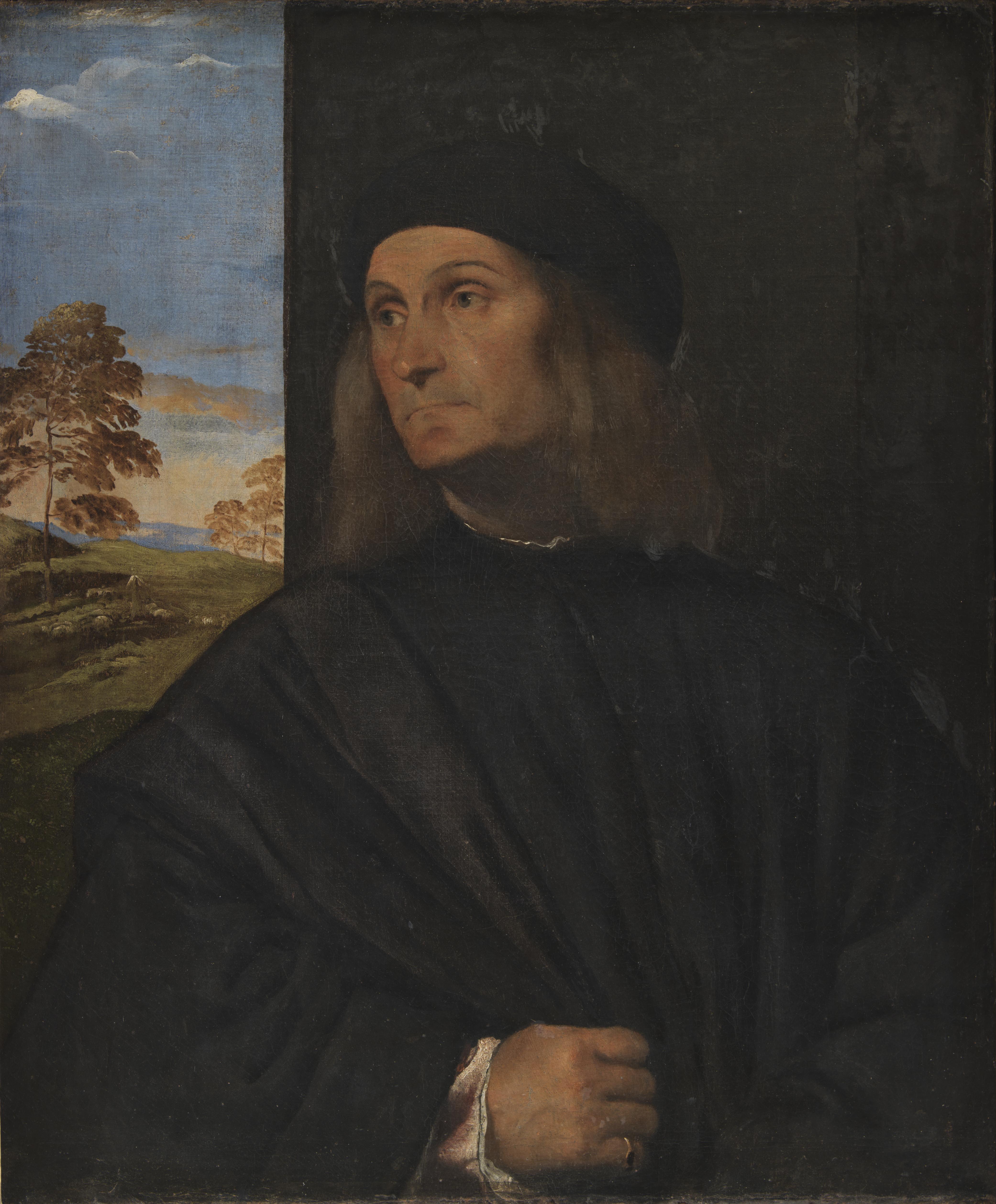 Tiziano Vecellio (1480-1576), Portrait of the Venetian Painter Giovanni Bellini?, 1511-12. dep15., Man, Painting, People, Portait, HQ Photo