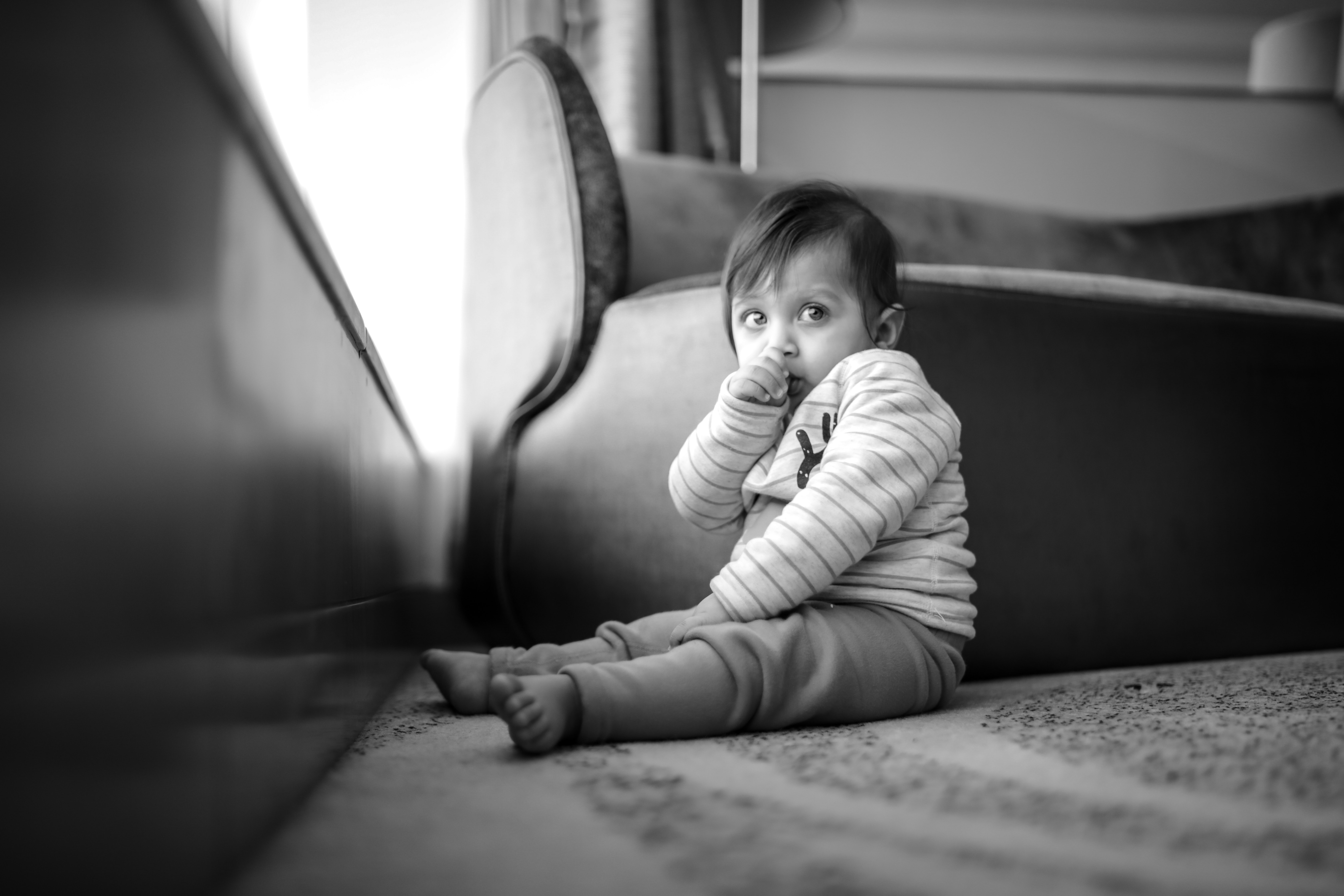 Toddler Right Hand In Mouth, Adorable, Baby, Black and white, Black-and-white, HQ Photo