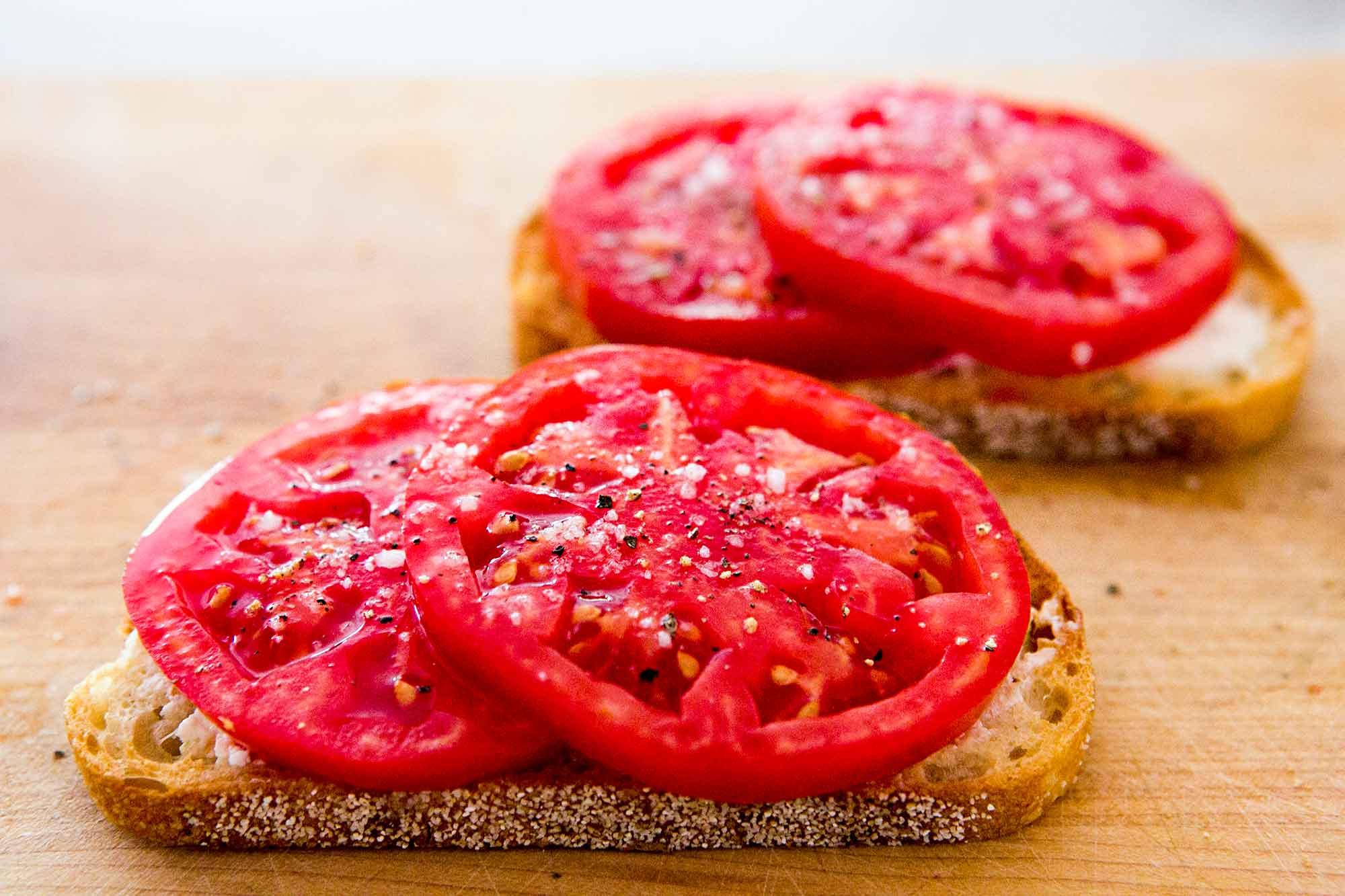 Tomatoes on Toast Recipe   SimplyRecipes.com