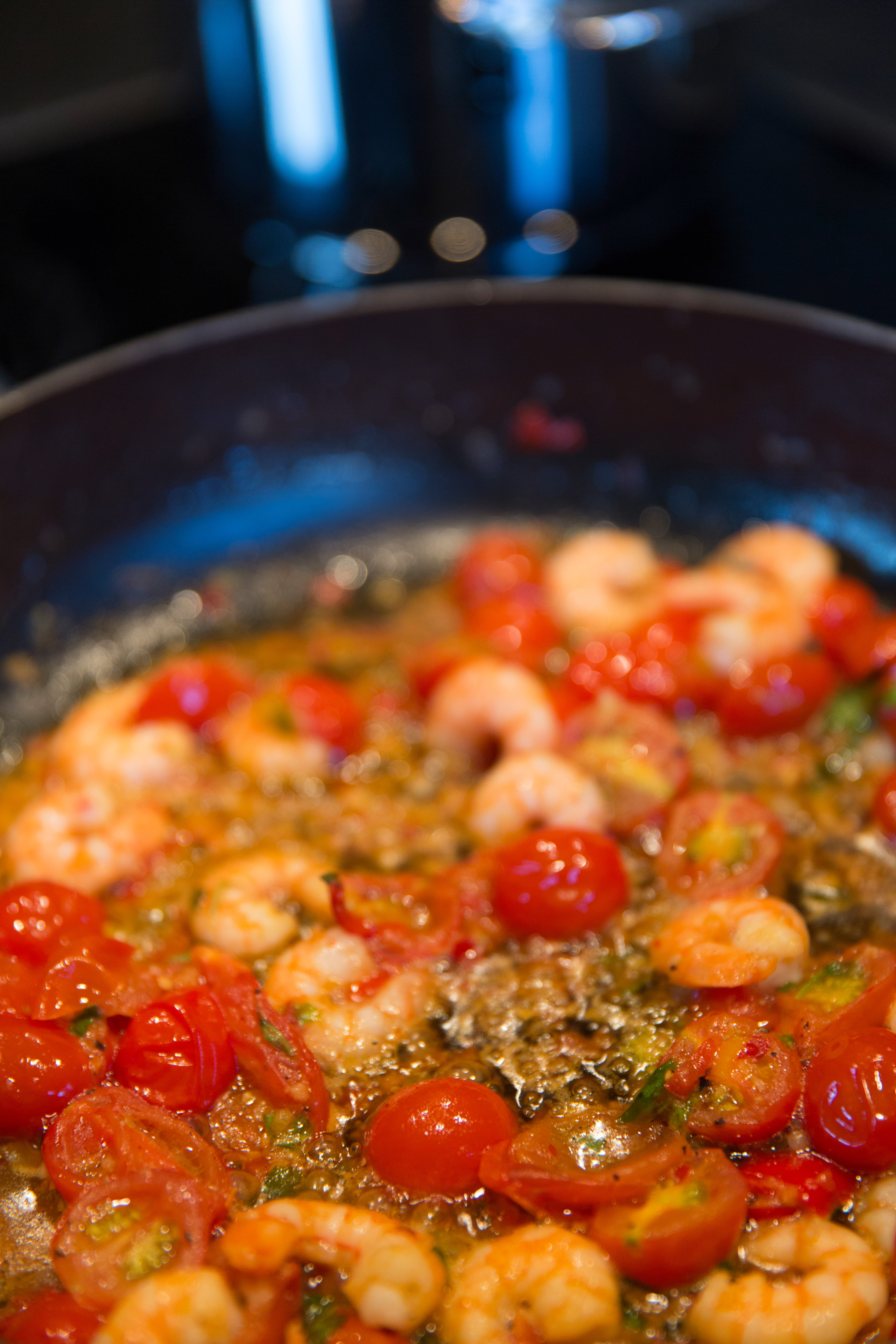 Tomatoes sauteed with shrimp dish photo