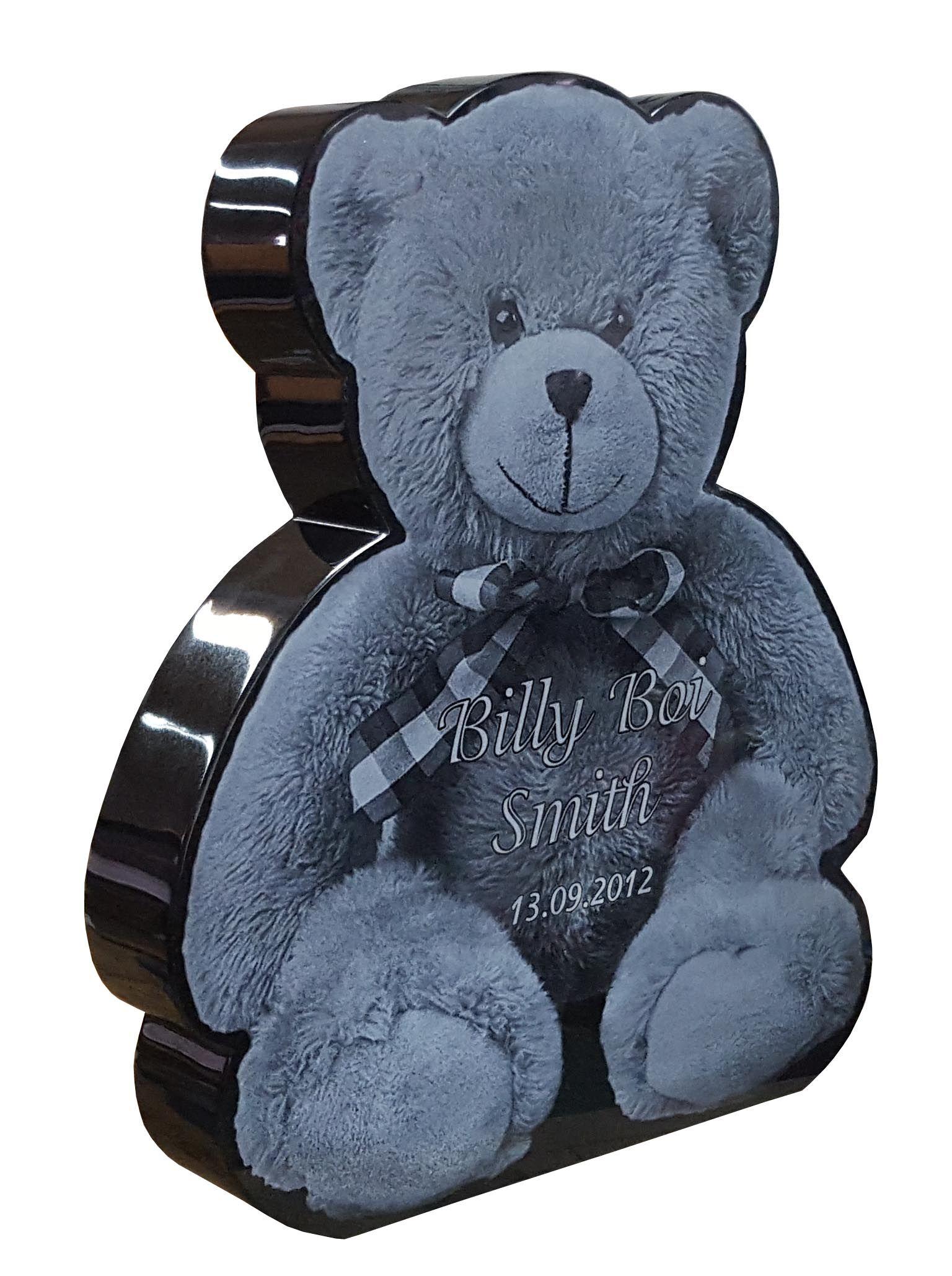 Teddy Bear Premium Black Granite laser etched headstone designed by ...