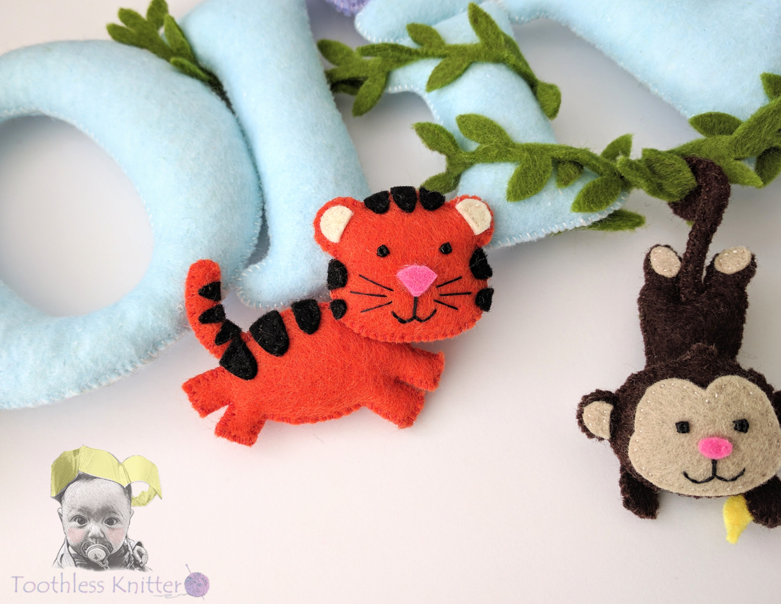 Filcowy Baner Imienny - Tygrys / Felt Baby Name Banner - Tiger ...