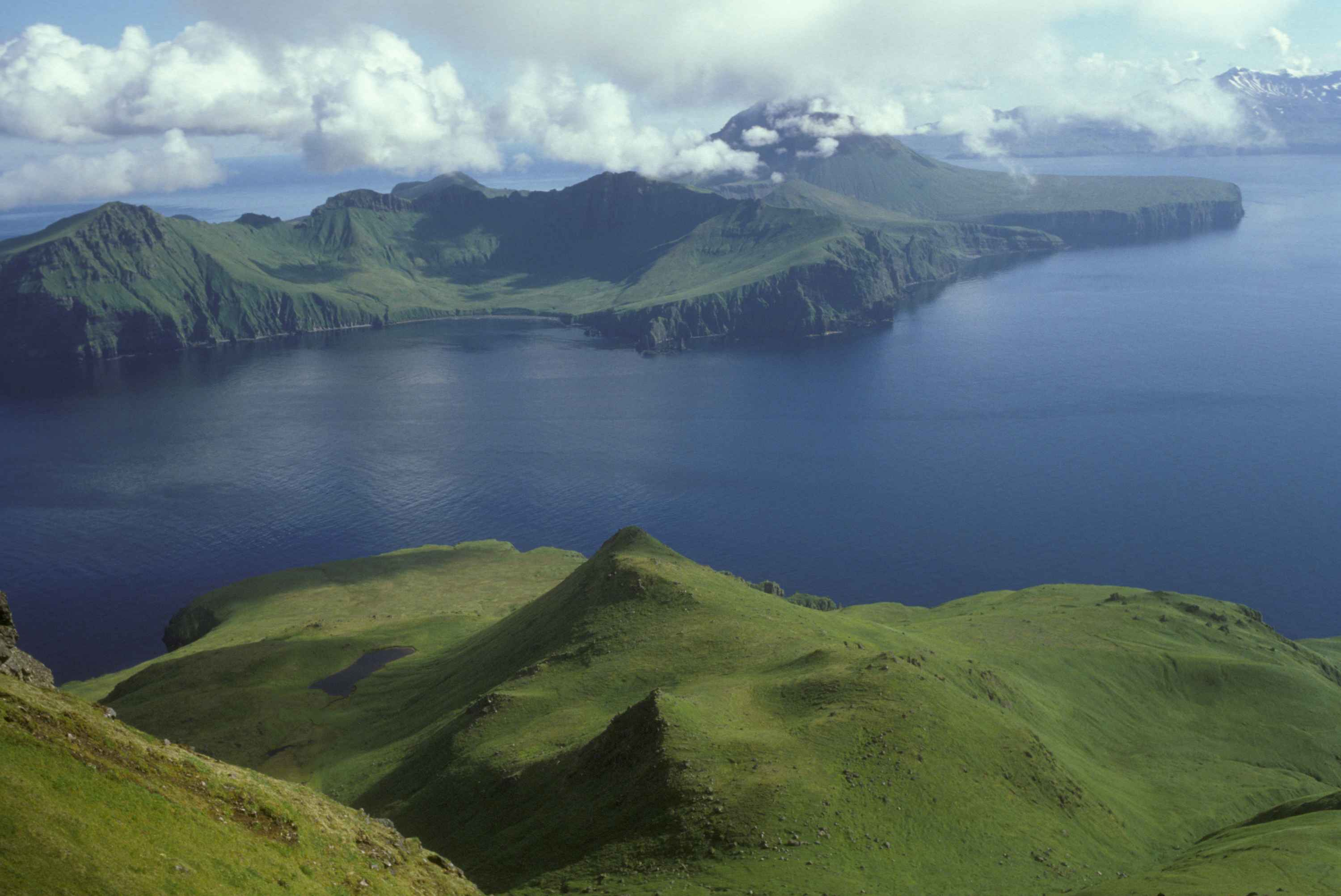 File:Beautiful view from the top of green hills on the remote island ...