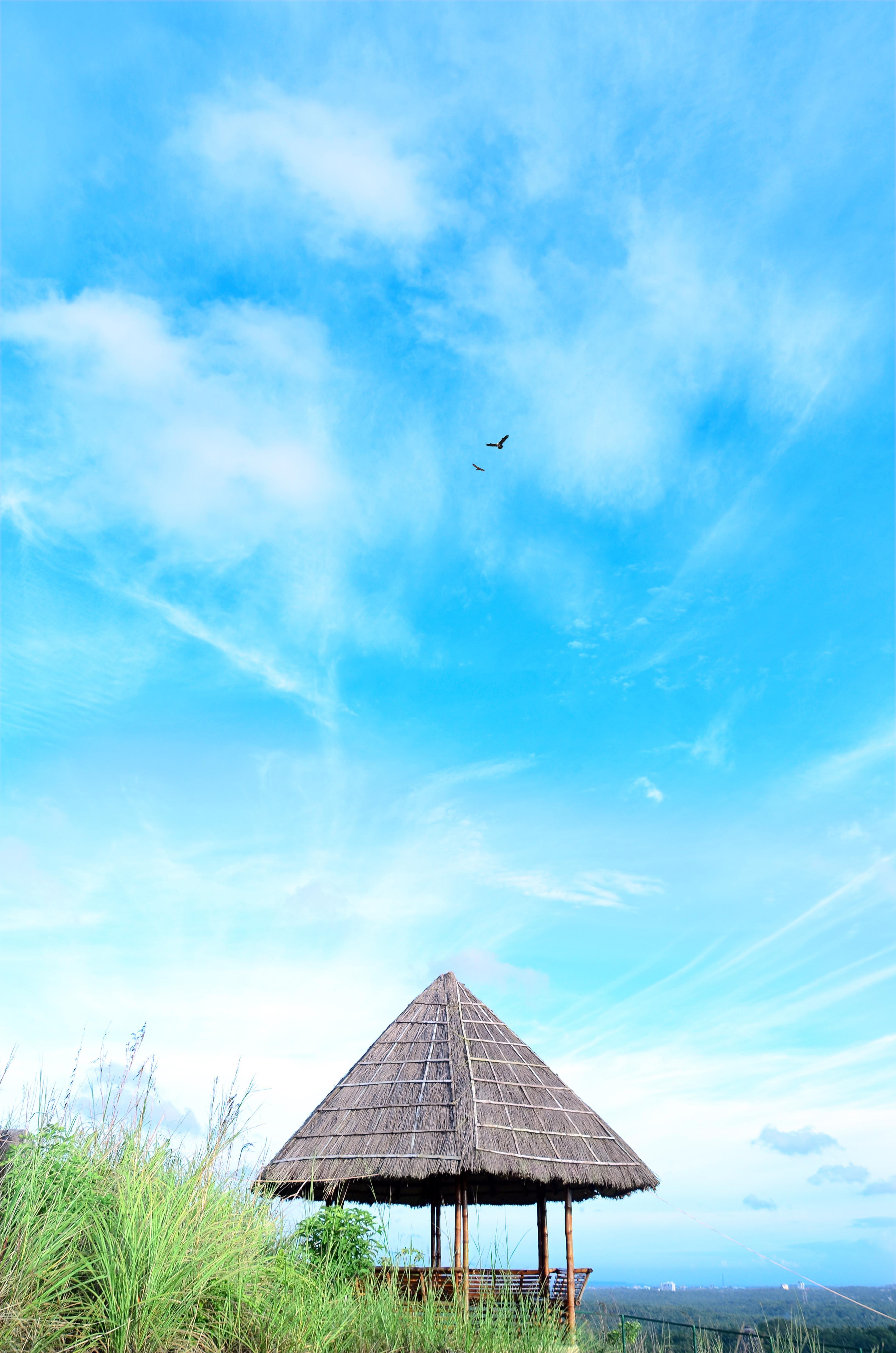 Top of hill, Blue, Hut, Landscape, Nature, HQ Photo