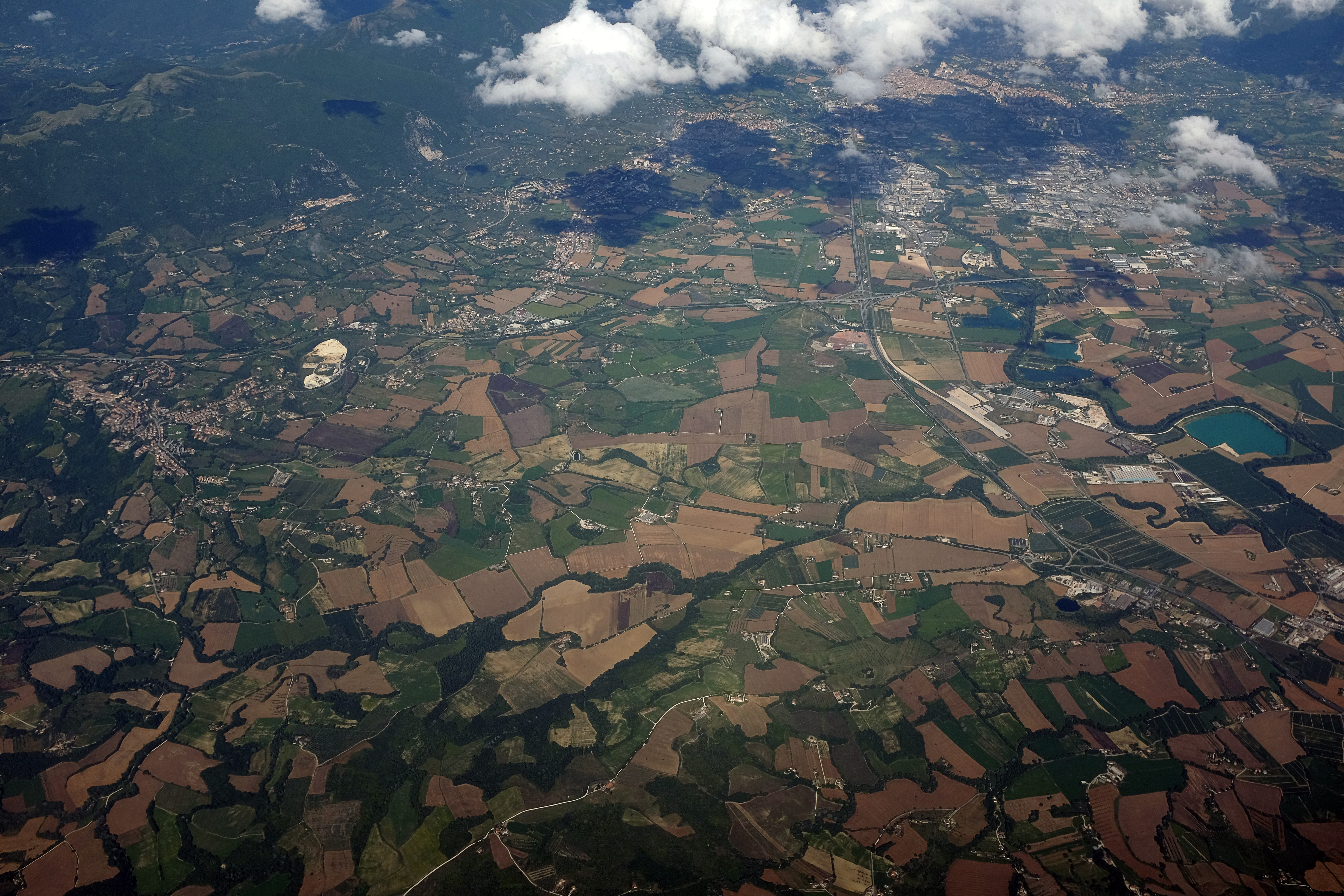 Top view of green and brown field photo