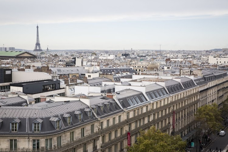 Top view of paris city and eiffel tower photo