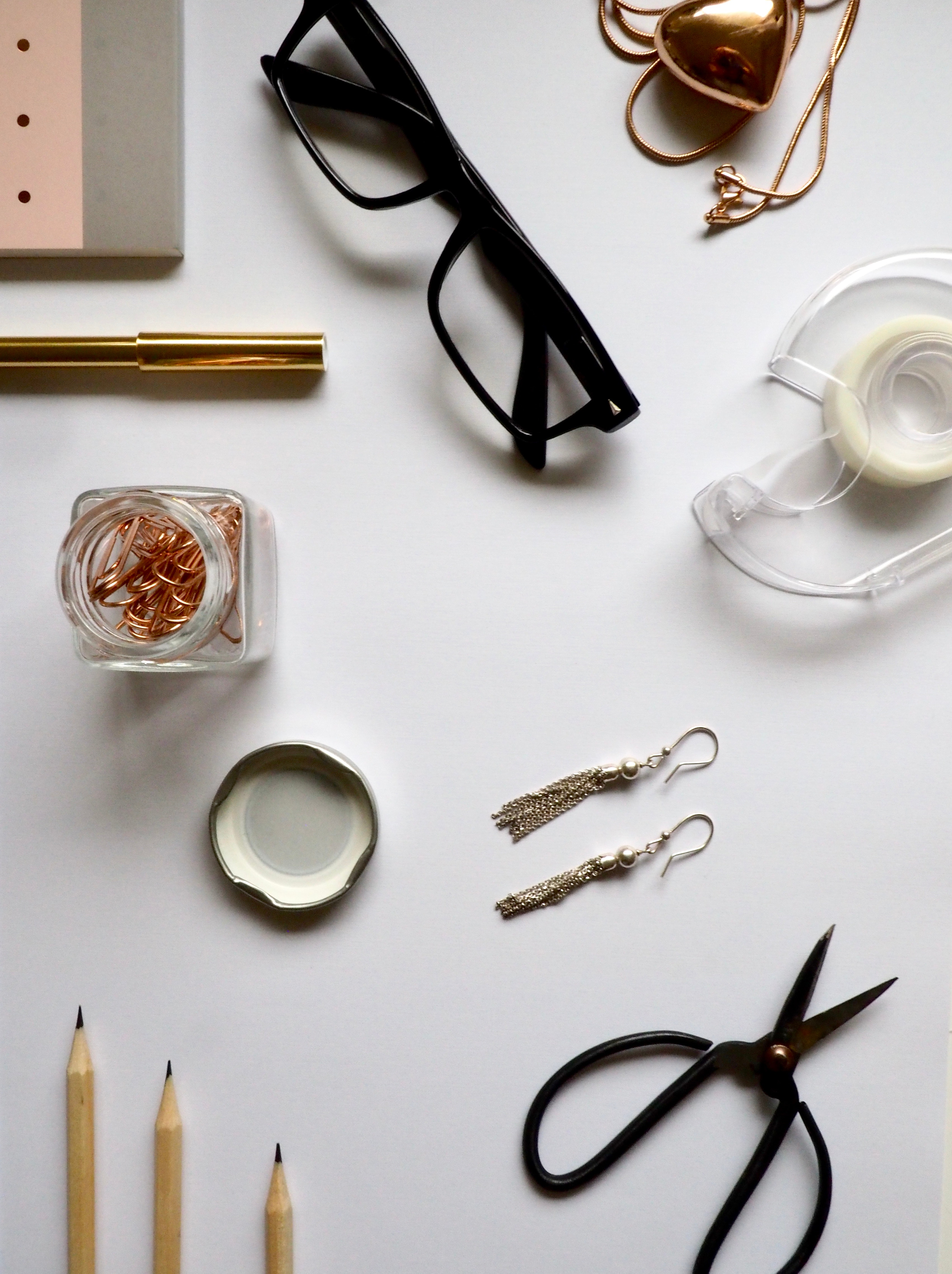 Top-view Photography of White Wooden Table With Personal Accessories on Top, Background, Office, Workspace, Workplace, HQ Photo