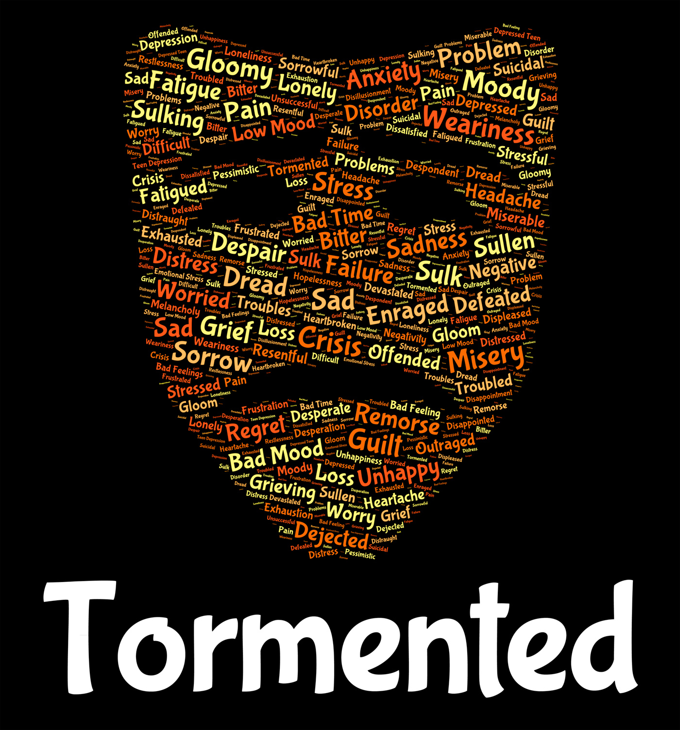 Tormented word represents excruciating wordclouds and pain photo