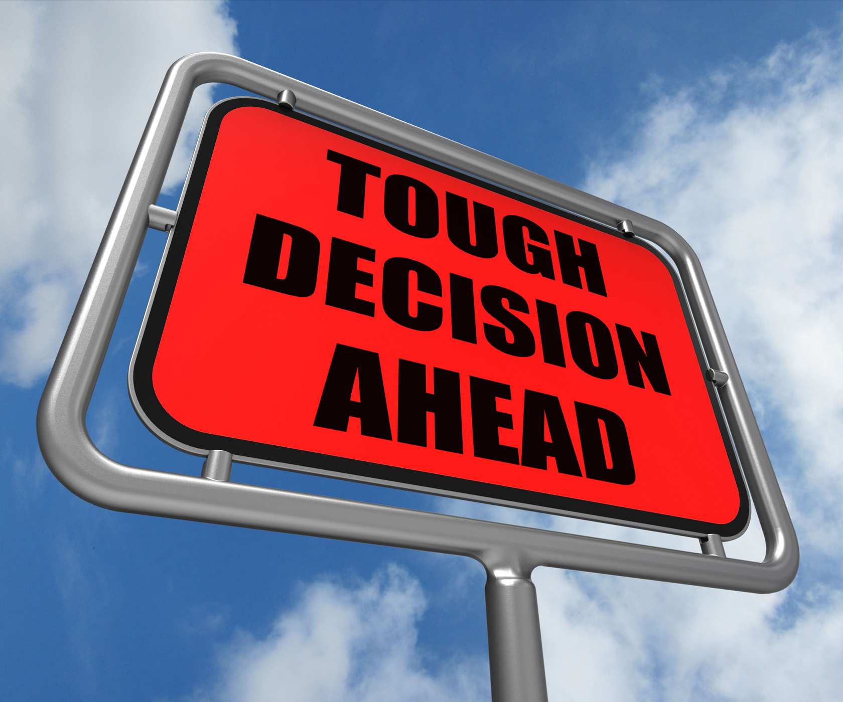 Tough decision ahead sign means uncertainty and difficult choice photo