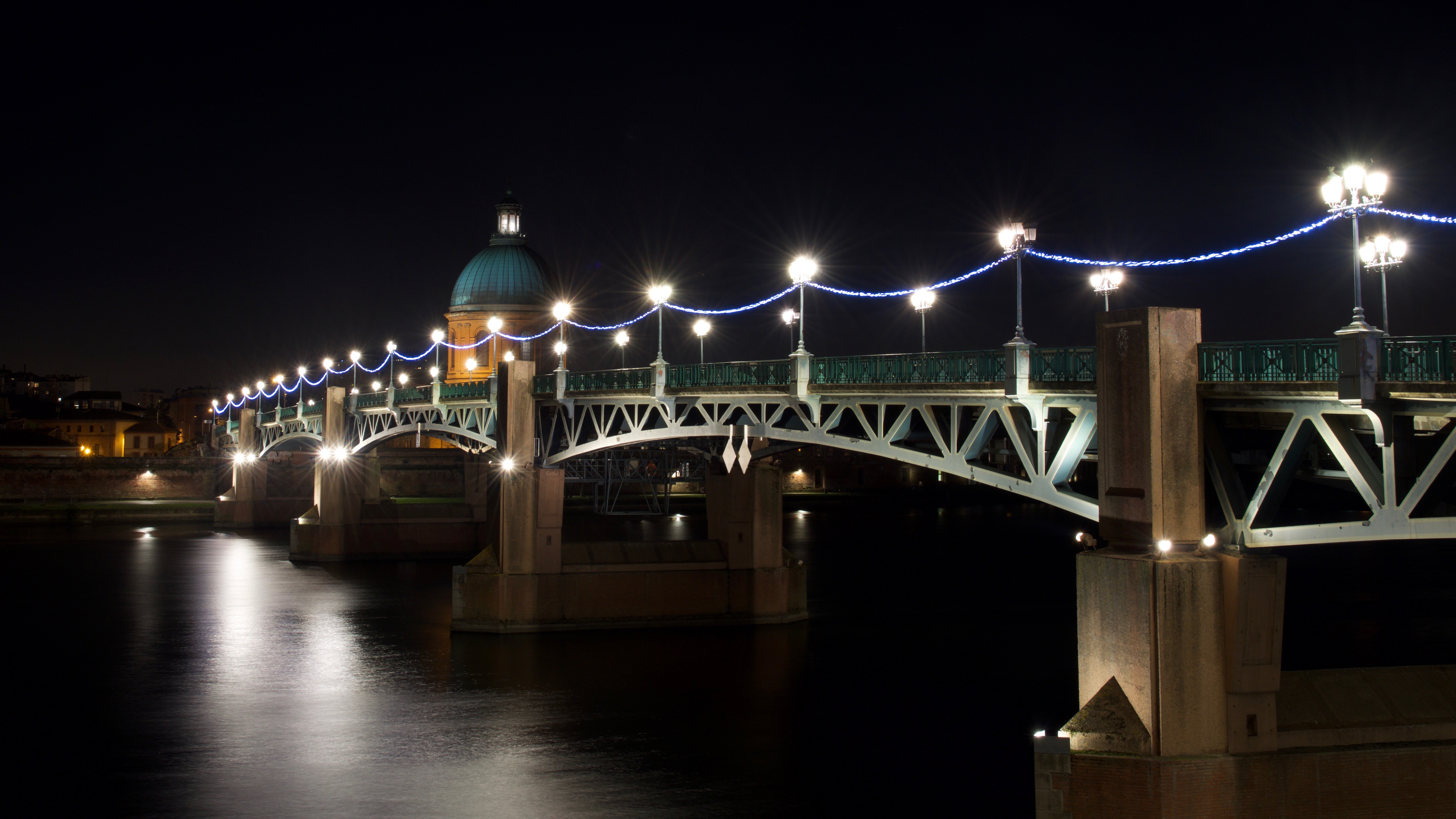 Toulouse by Night, Boat, Bridge, FR, France, HQ Photo