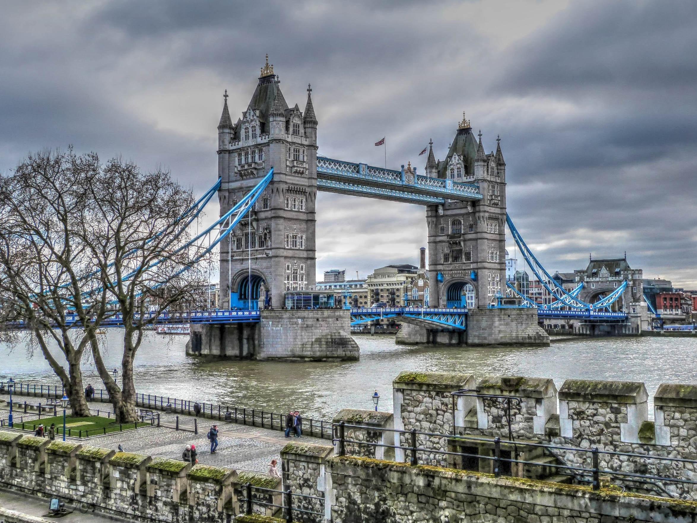 Tower Bridge, Ancient, Waterfront, Water, Urban, HQ Photo
