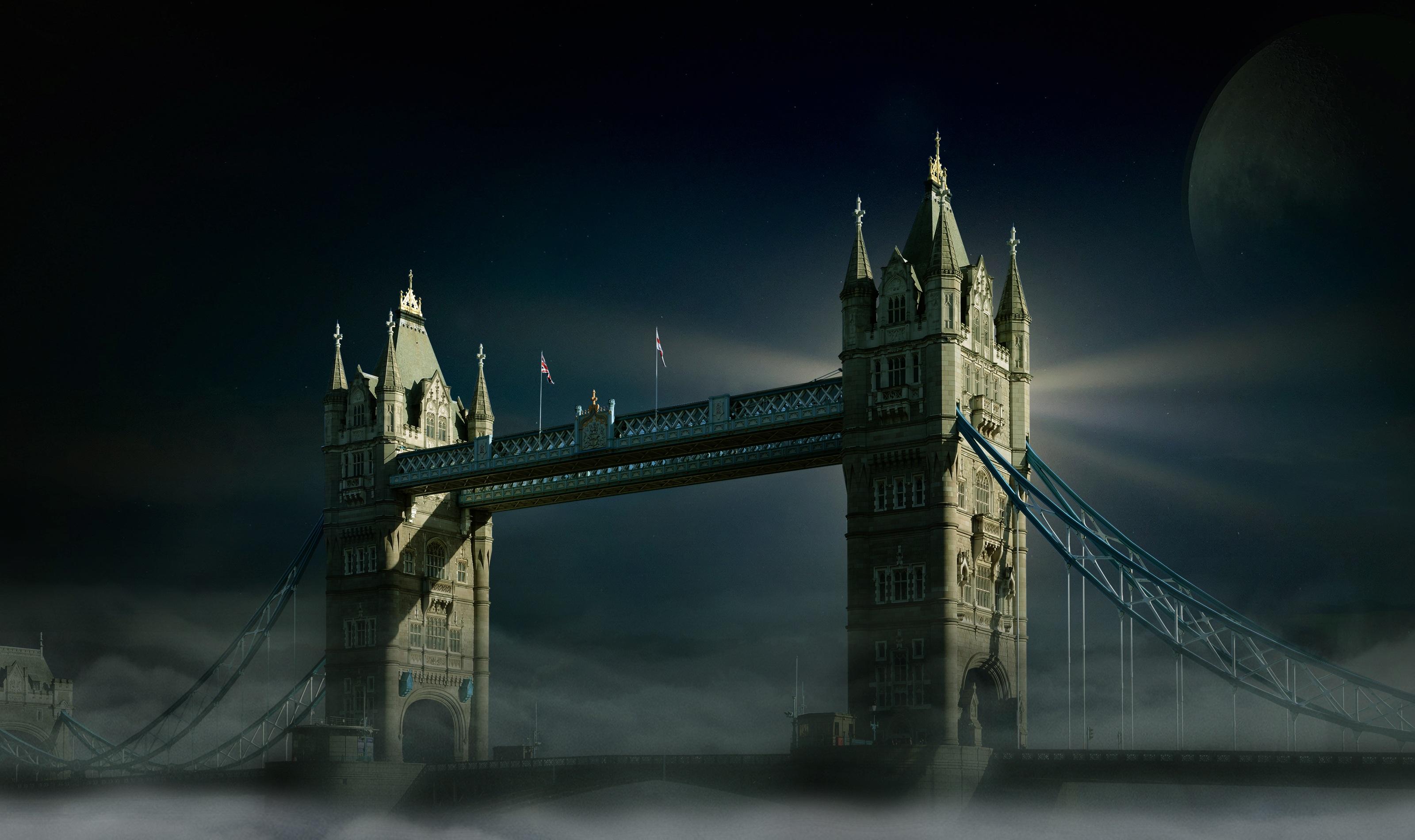 Wallpaper Tower Bridge, London, Night, HD, World, #9518