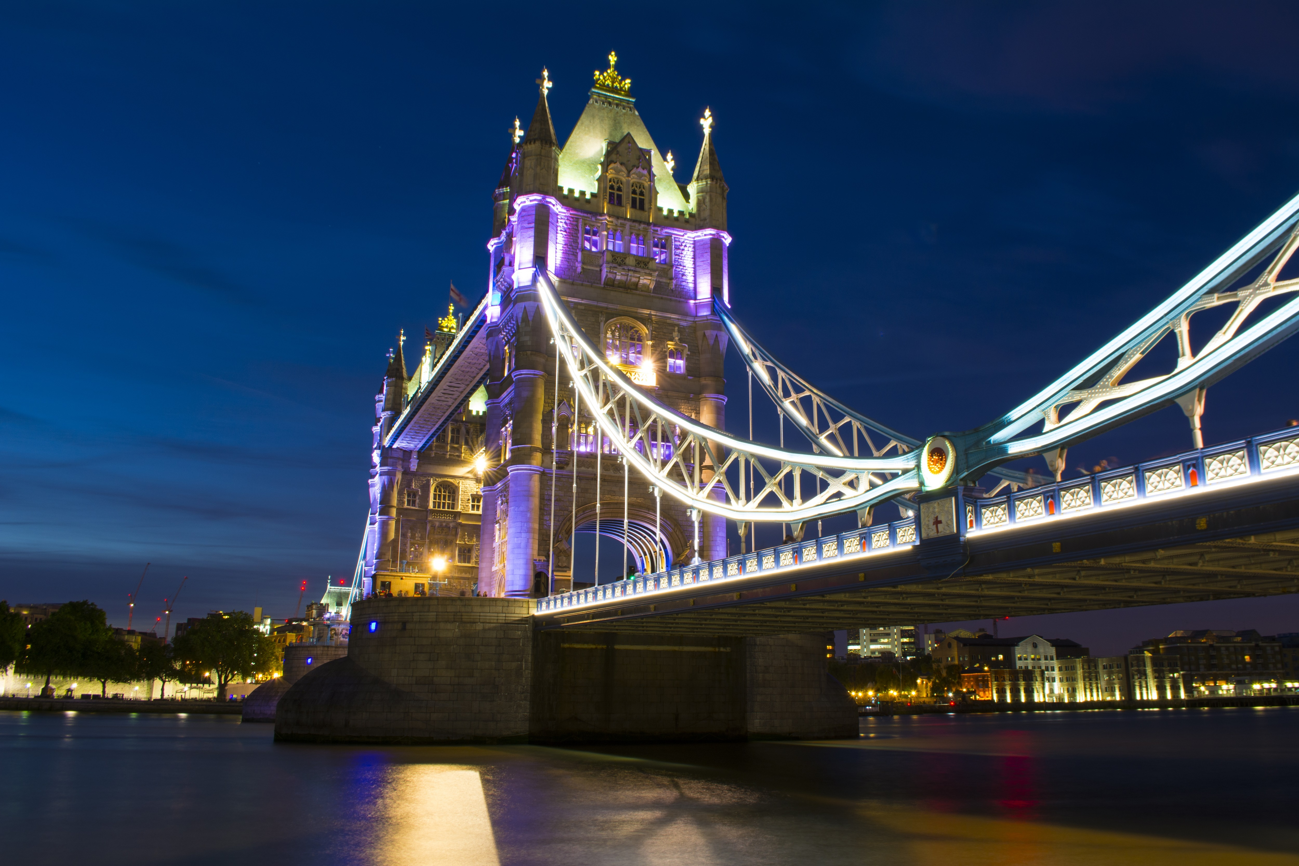Tower Bridge at Night, Architecture, Bridge, City, Construction, HQ Photo