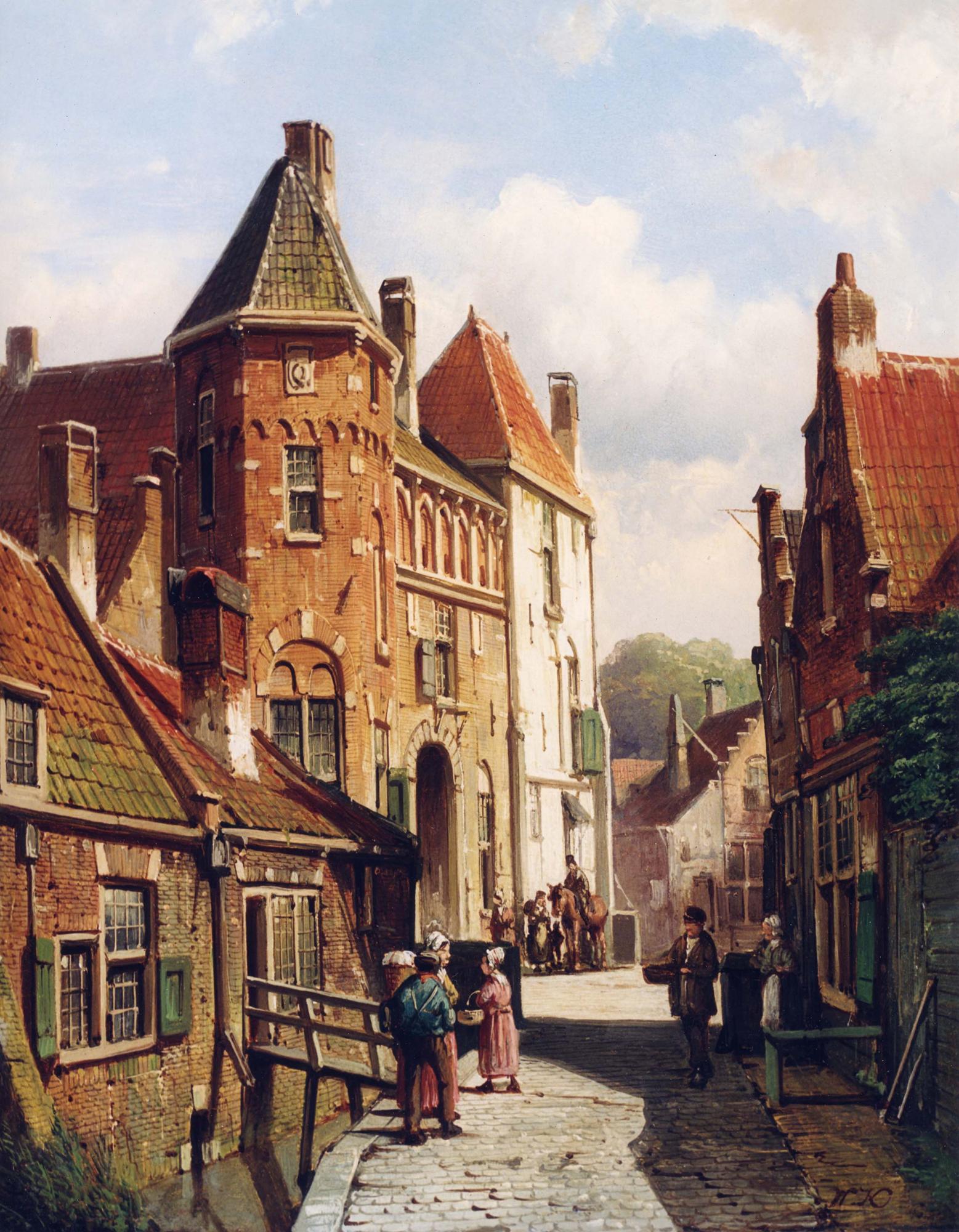 Willem Koekkoek ( 1839 - 1895) - Dutch Town Scene with Figures