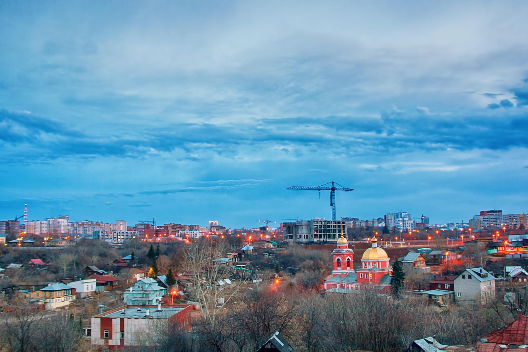 town scene, Blue, Night, Ufa, Twilight, HQ Photo