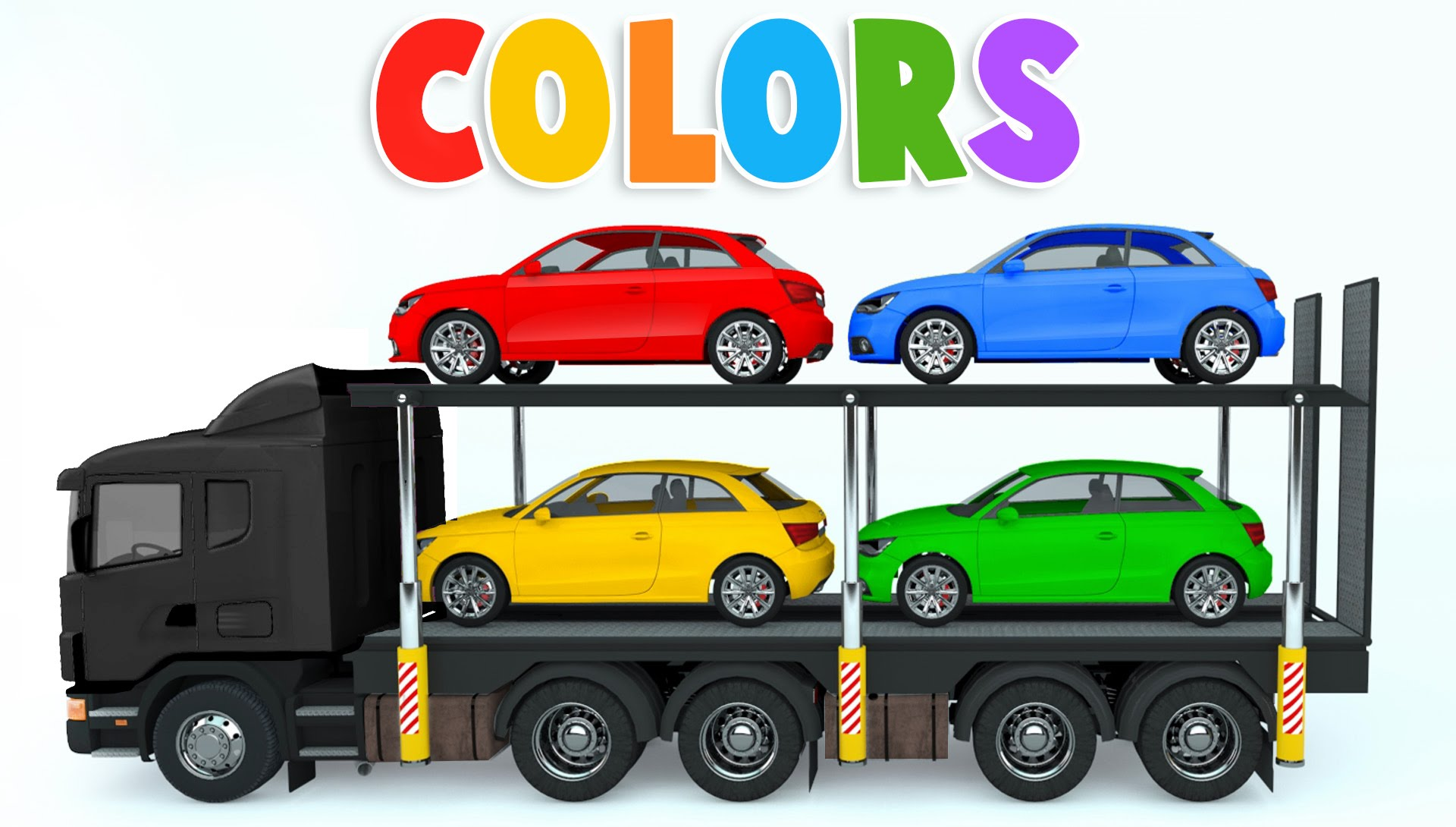 Colors for Children to Learn with Car Transporter Car Toys - Colours ...