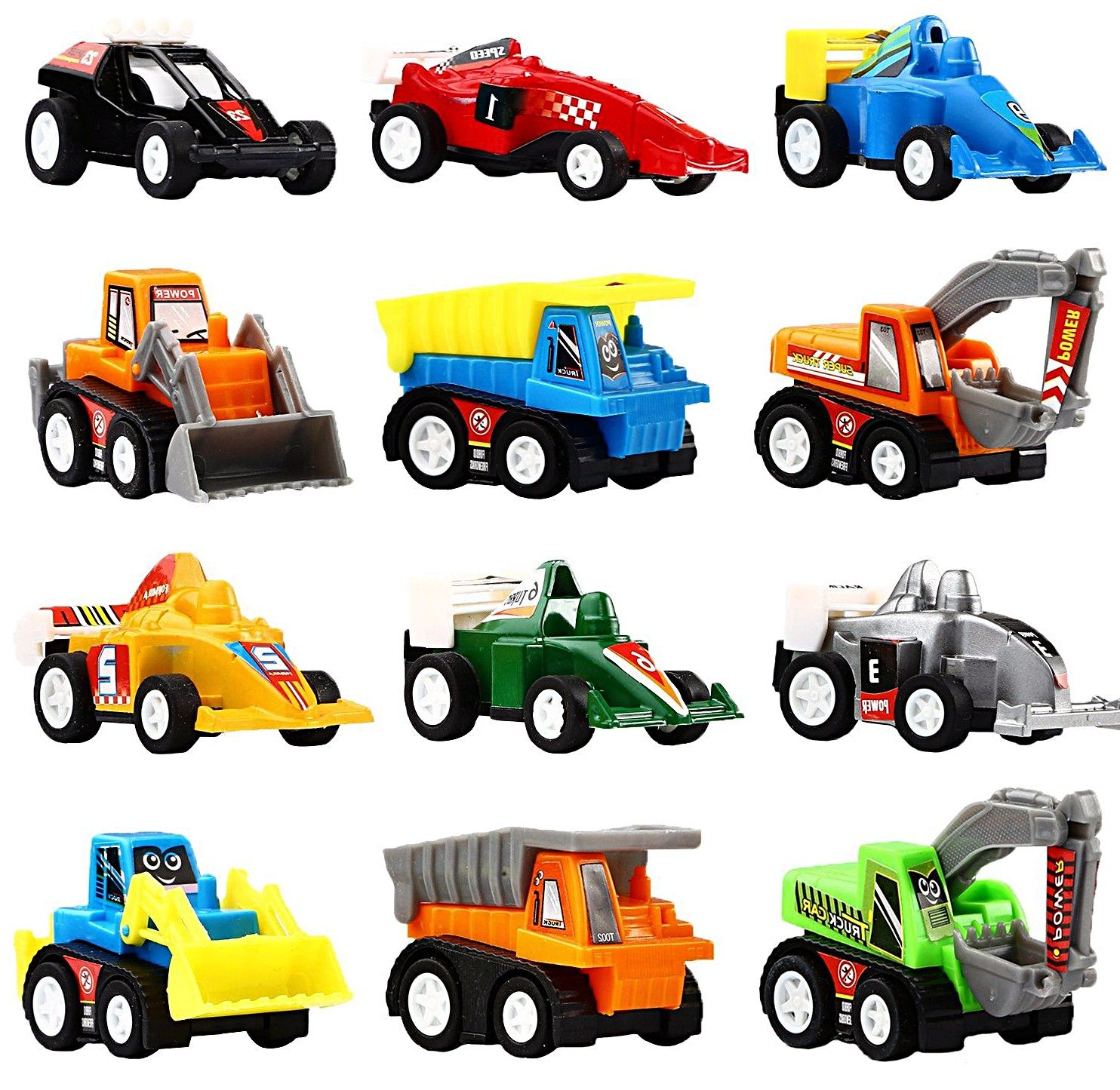 Vehicles And Raced Toy Cars Set Mini Construction Vehicles Toddlers ...