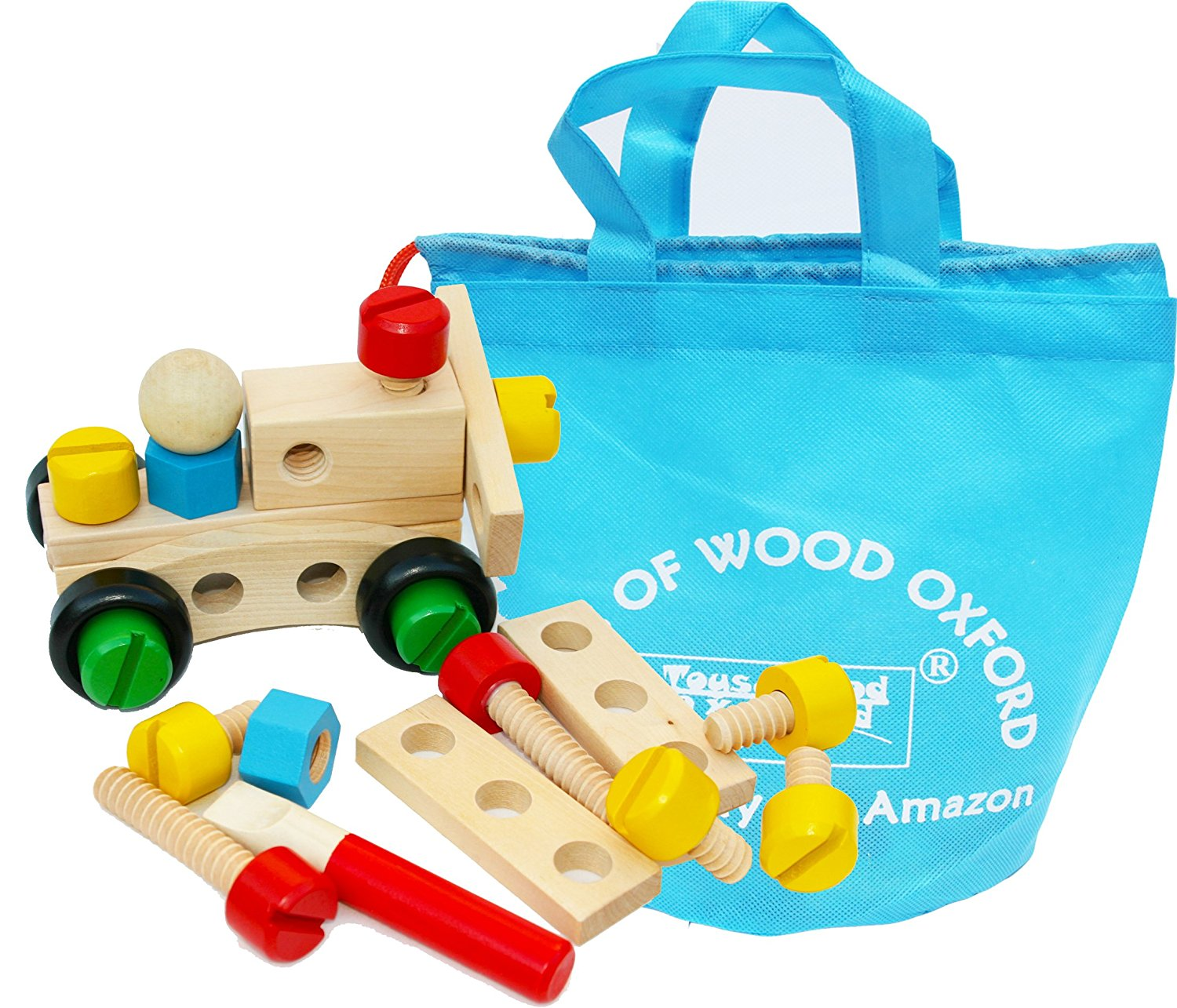 Toys of Wood Oxford Wooden Nut and Bolt Building Blocks Construction ...