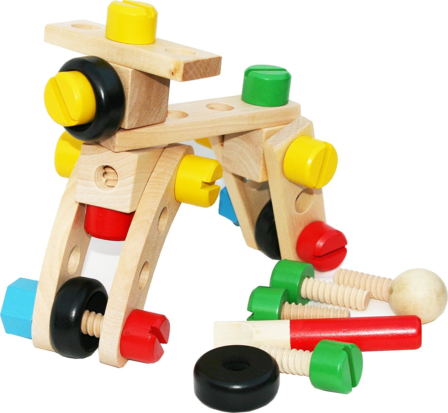 Amazon.com: Toys of Wood Oxford Wooden Nut and Bolt Building Blocks ...