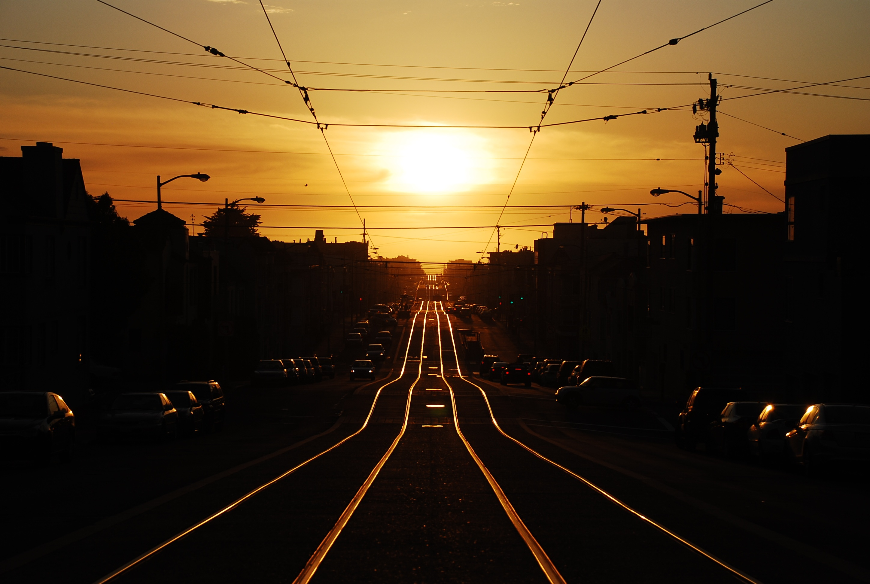 Tracks into the sunset photo