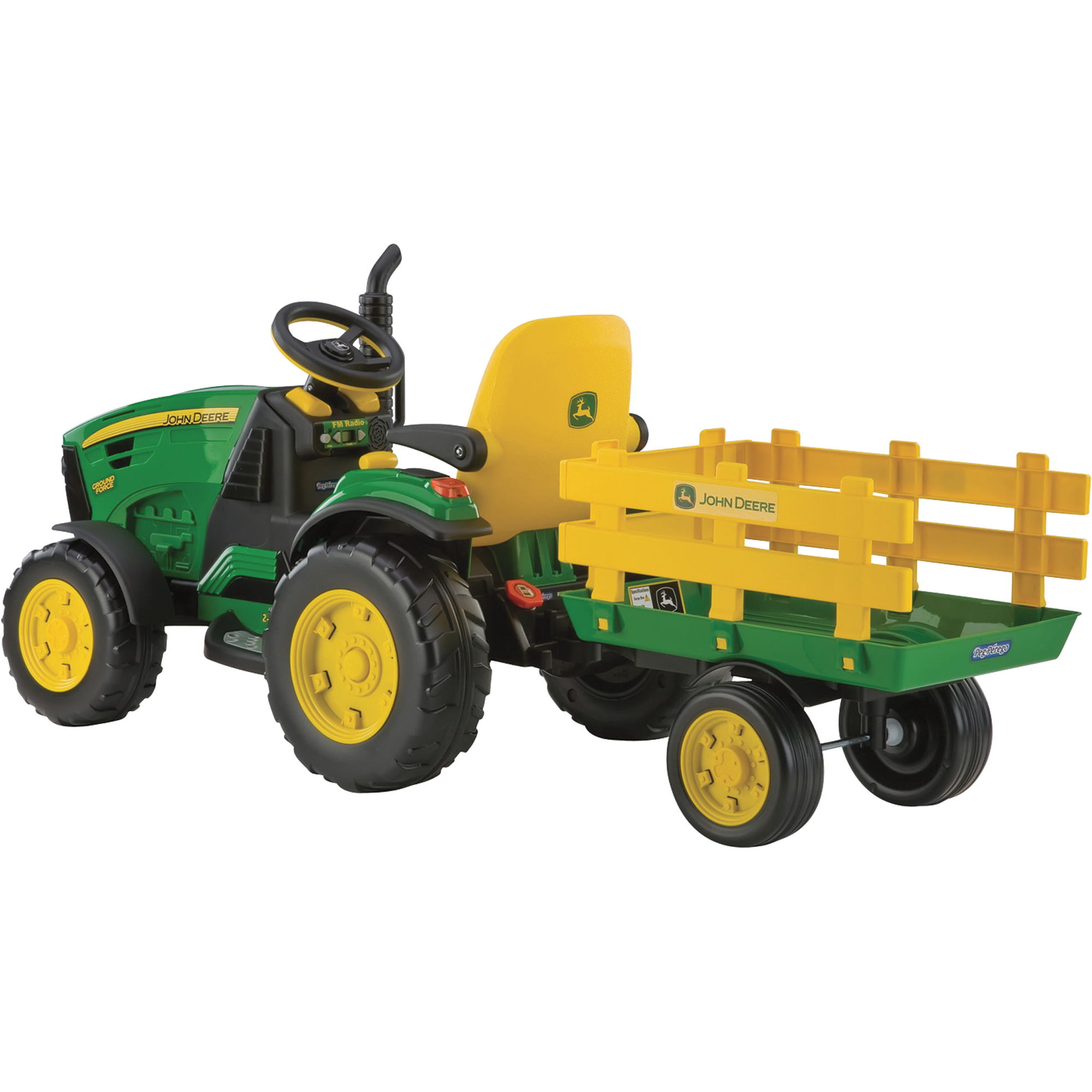Peg Perego 12 Volt John Deere Ground Force Tractor with Trailer ...