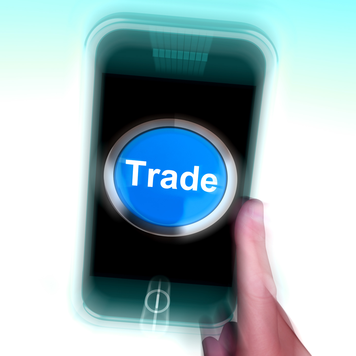 Trade on mobile phone shows online buying and selling photo
