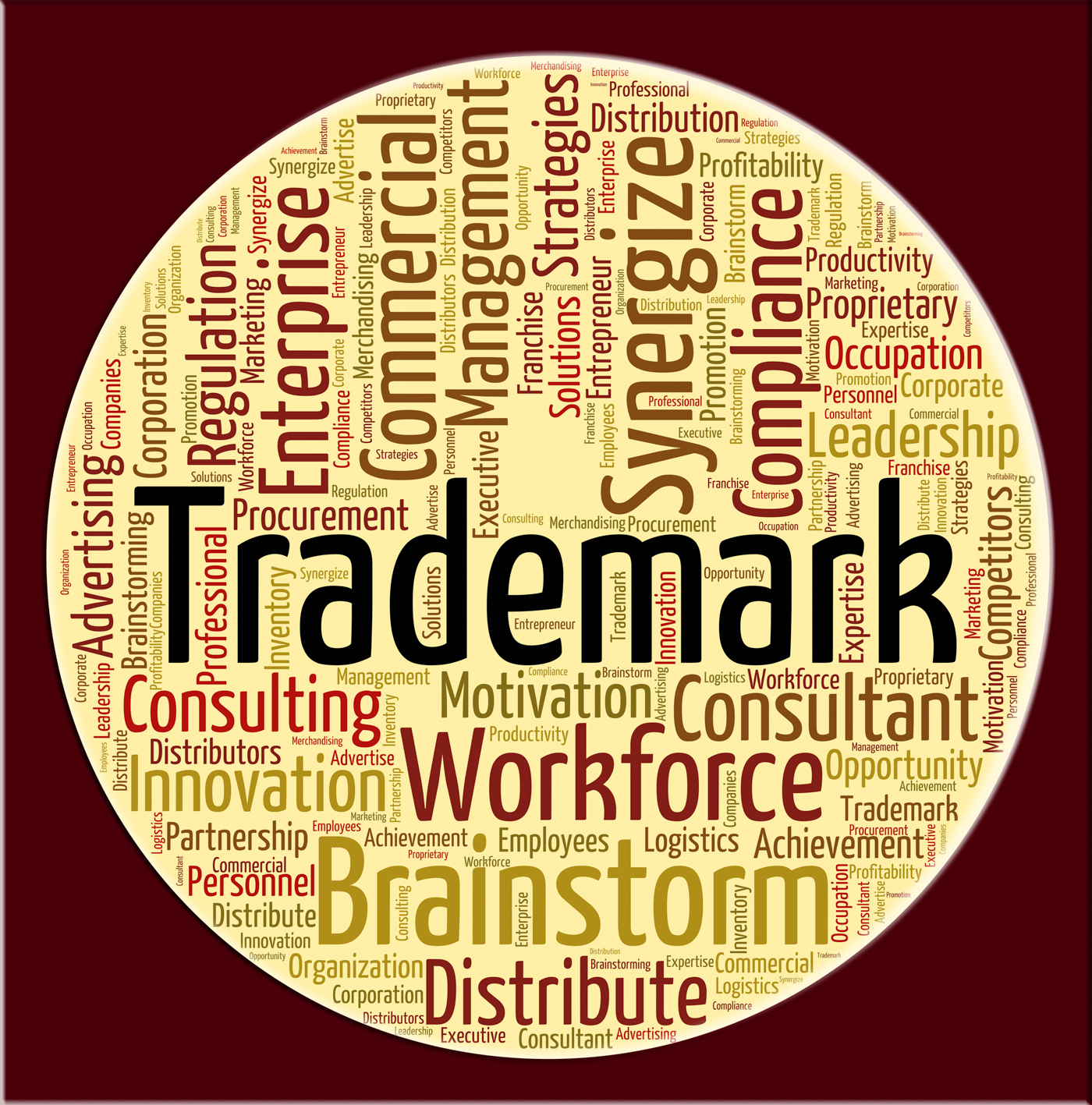 Trademark word means proprietary name and emblem photo