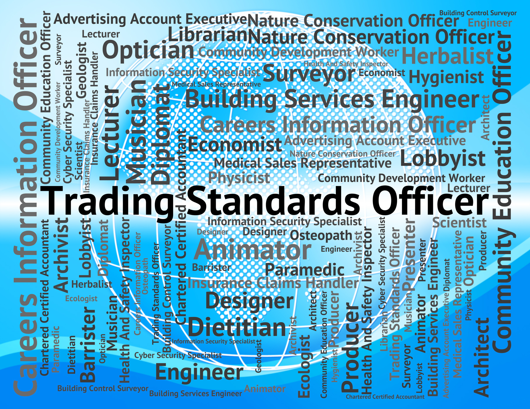 Trading standards officer represents officers position and e-commerce photo