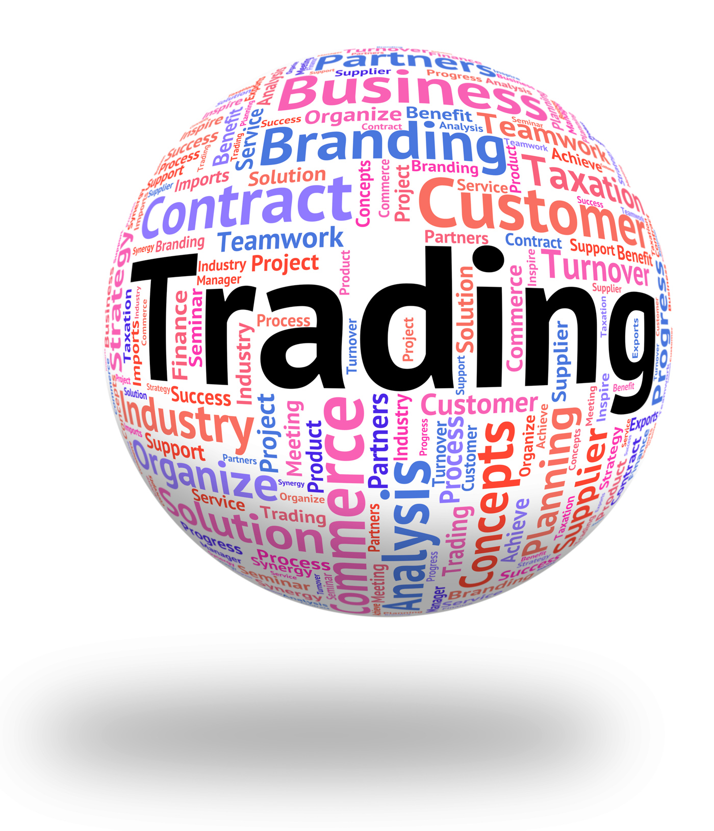 Trading word indicates ecommerce wordcloud and business photo
