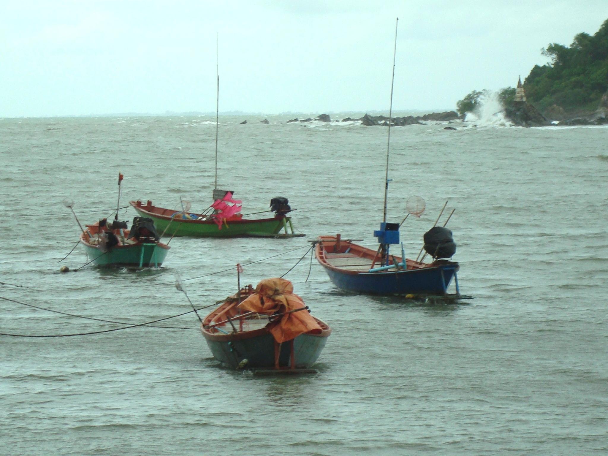 Traditional Thai Fishing Boats, Bay, Sea, Wood, Water, HQ Photo