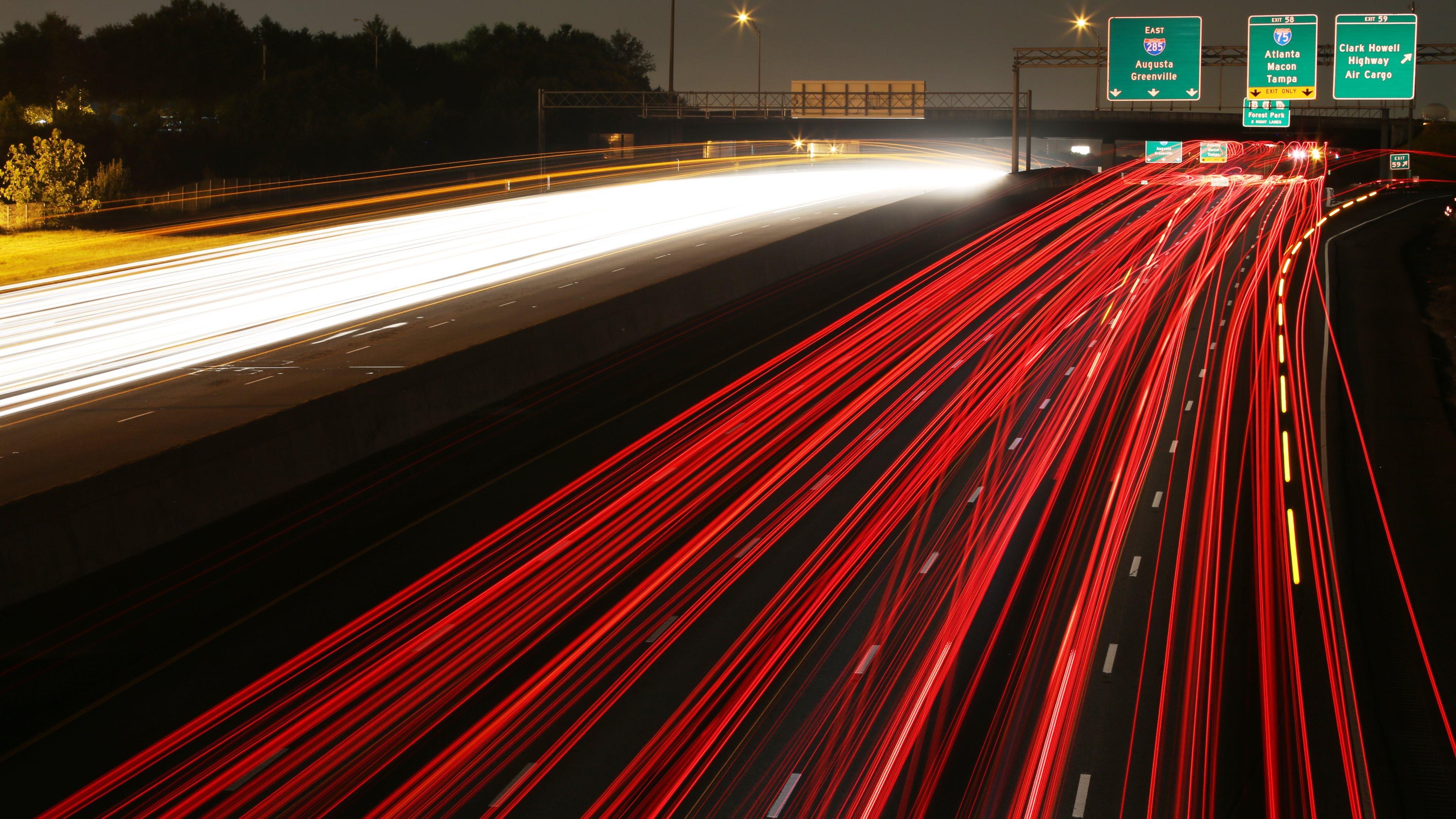 Cars Highways Long Exposure Motion Blur Night Time Traffic Lights ...