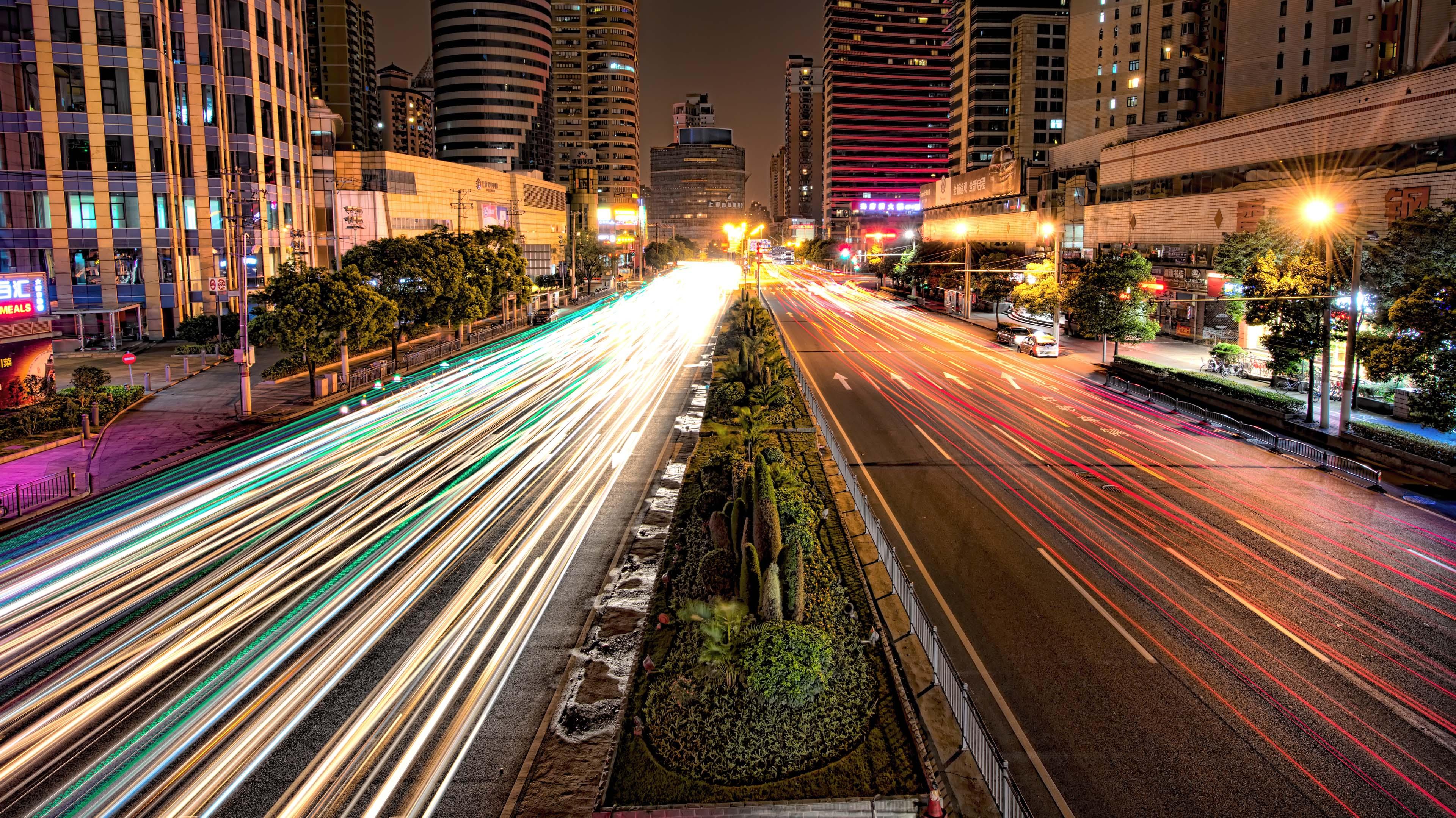 Architecture Buildings City Lights Motion Blur Night Light Time ...