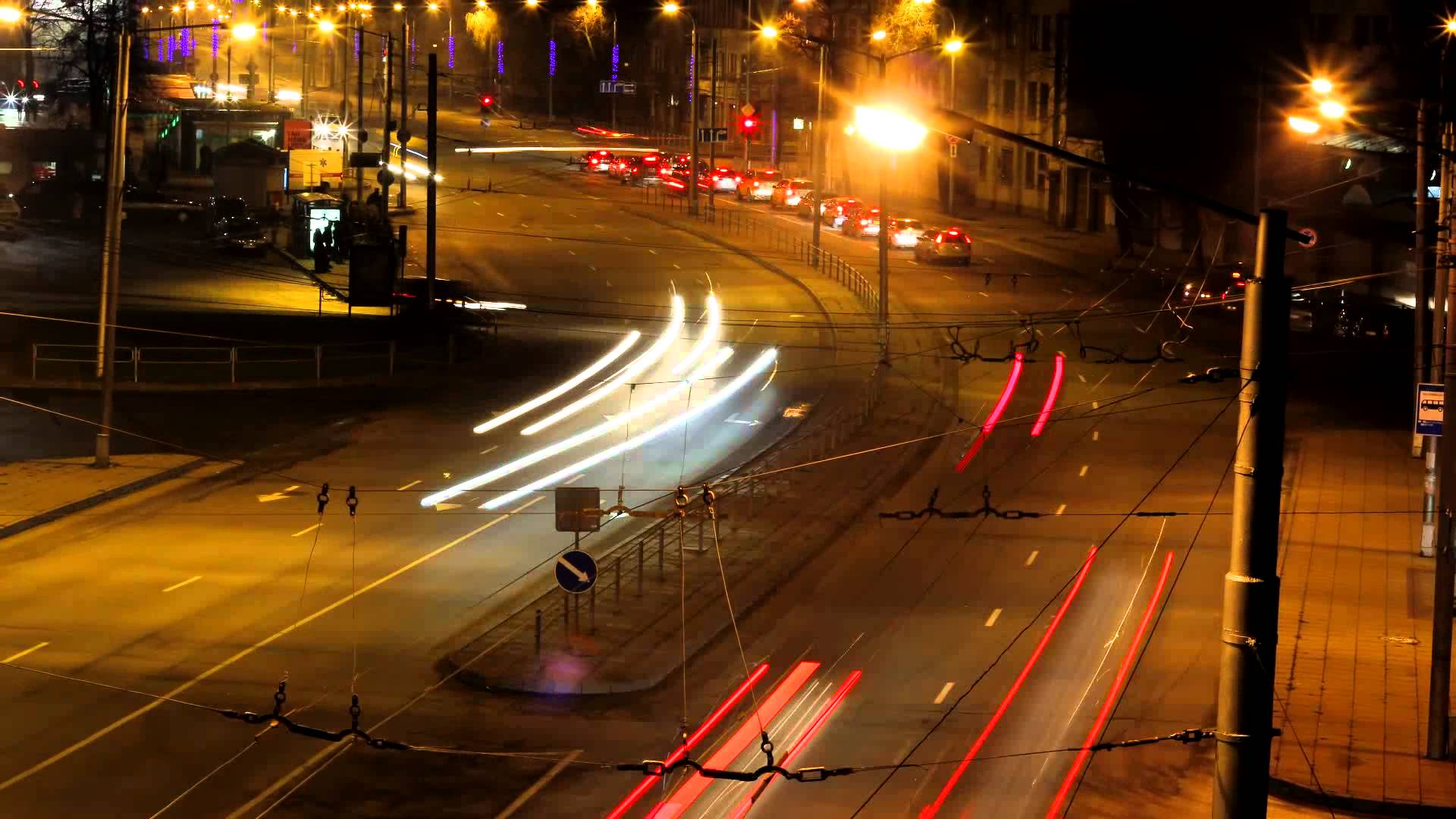 night traffic fast motion - YouTube