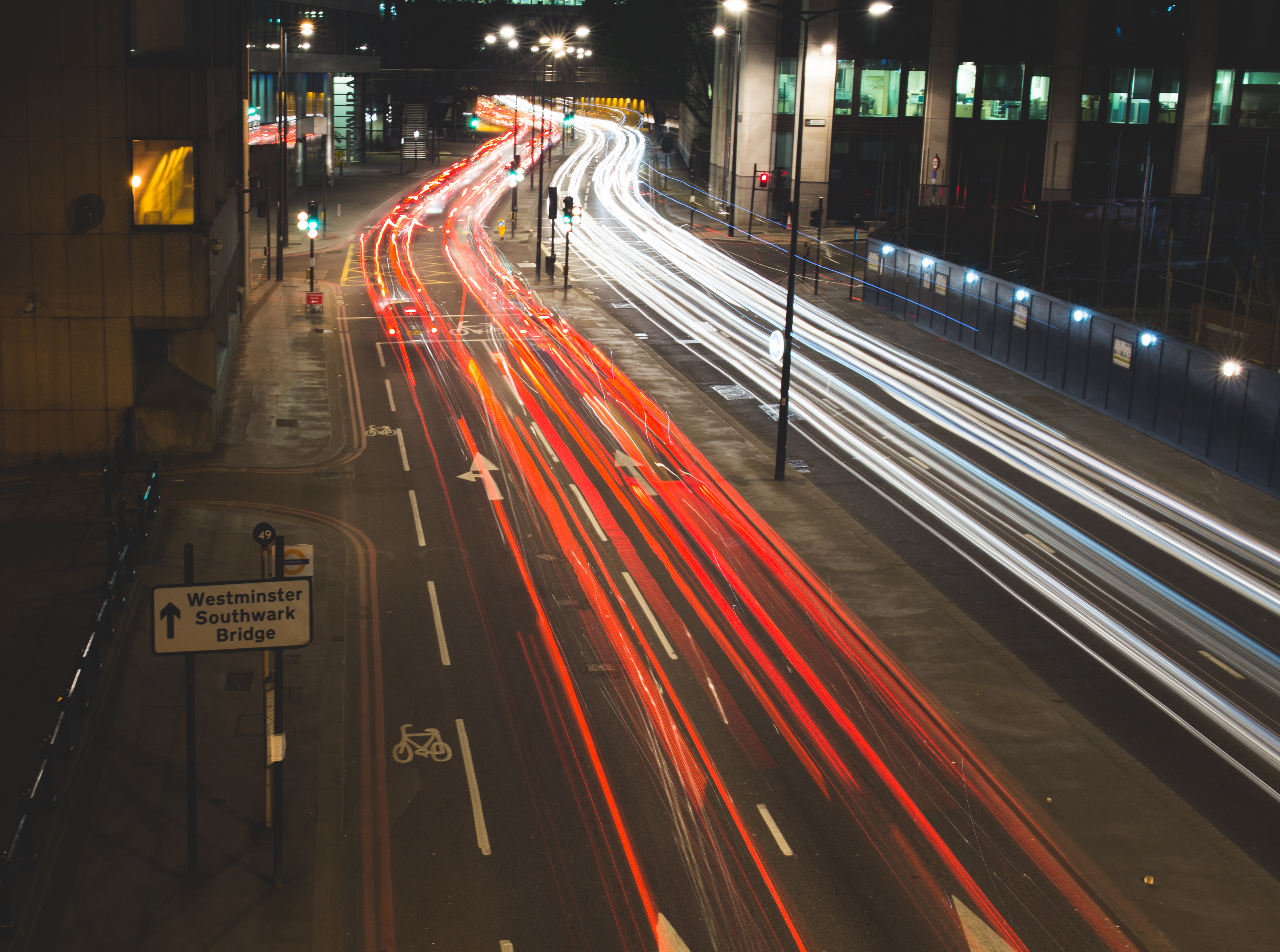 Traffic in Motion, Blur, Buildings, City, Effect, HQ Photo