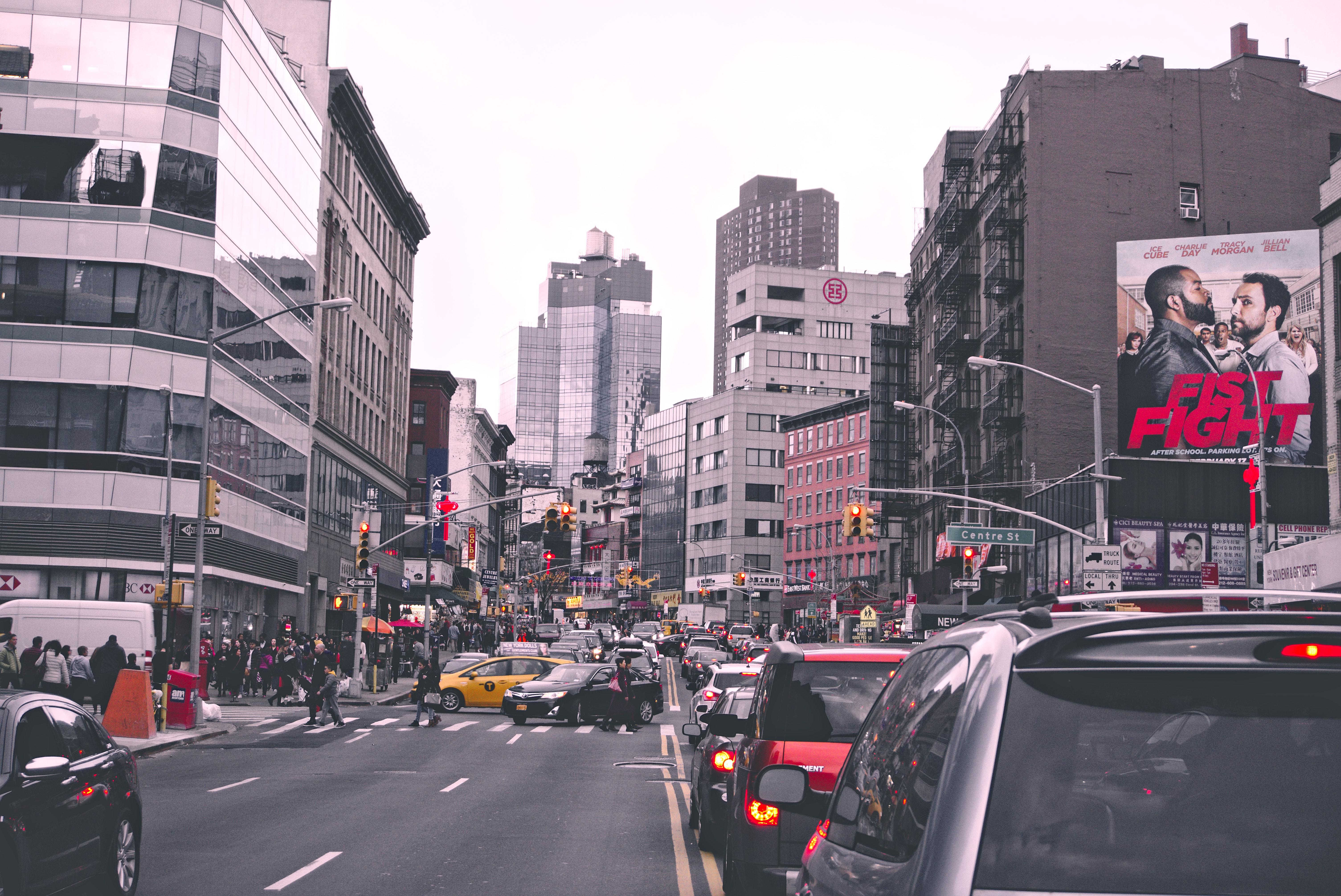 Traffic on City Street, Outdoors, Vehicles, Urban area, Urban, HQ Photo