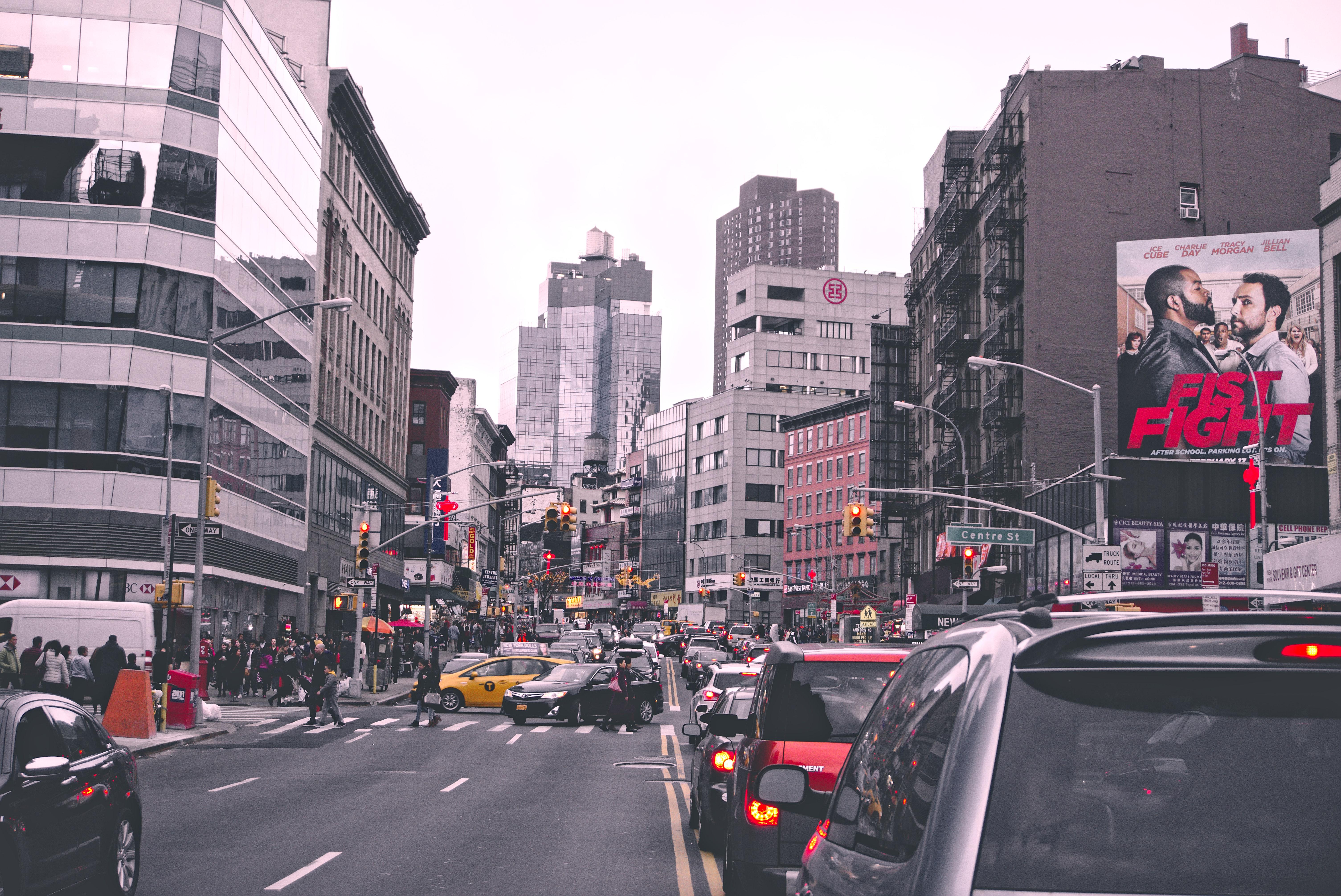 Traffic on city street photo