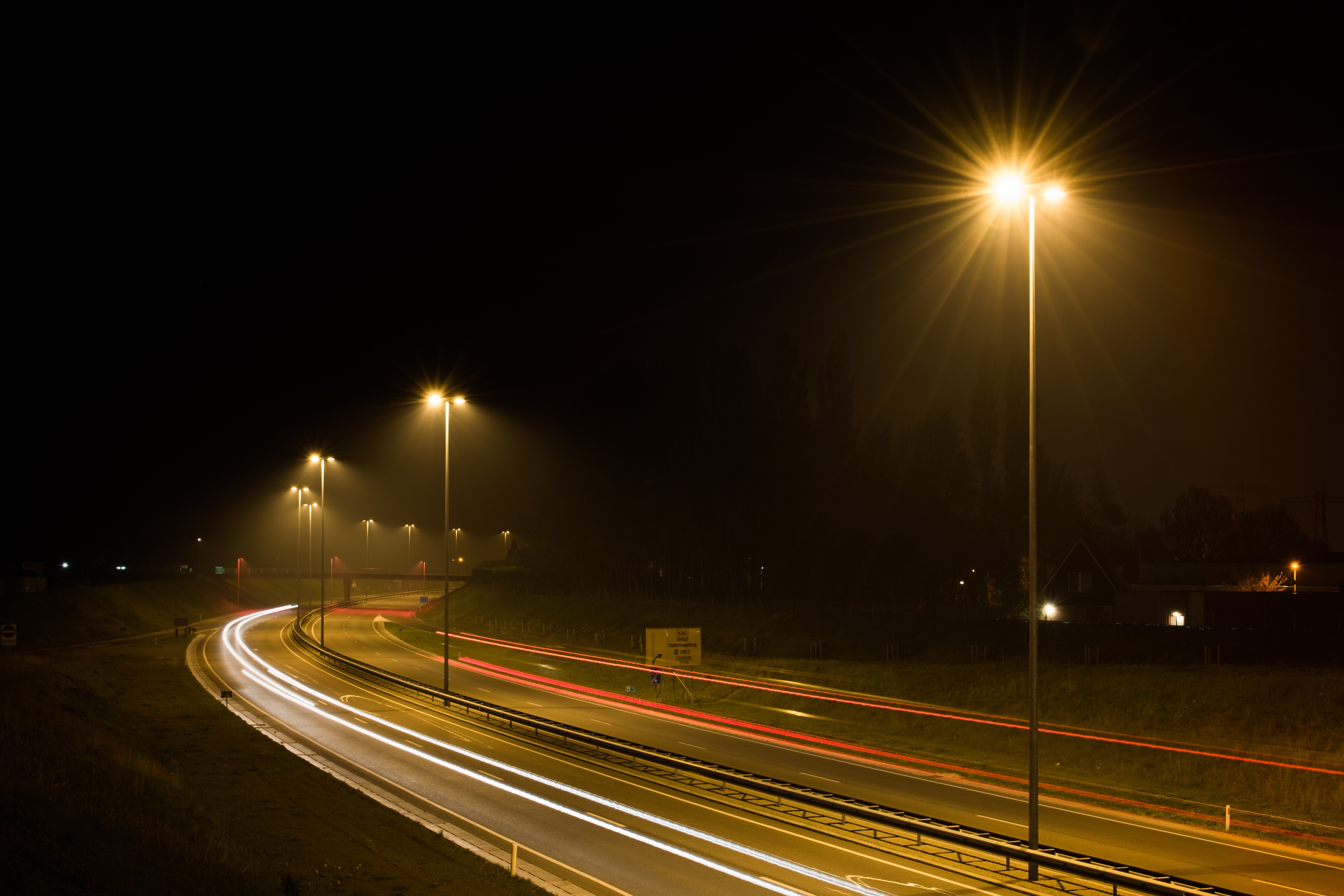 Traffic on the Road, Dark, Highway, Path, Pathway, HQ Photo