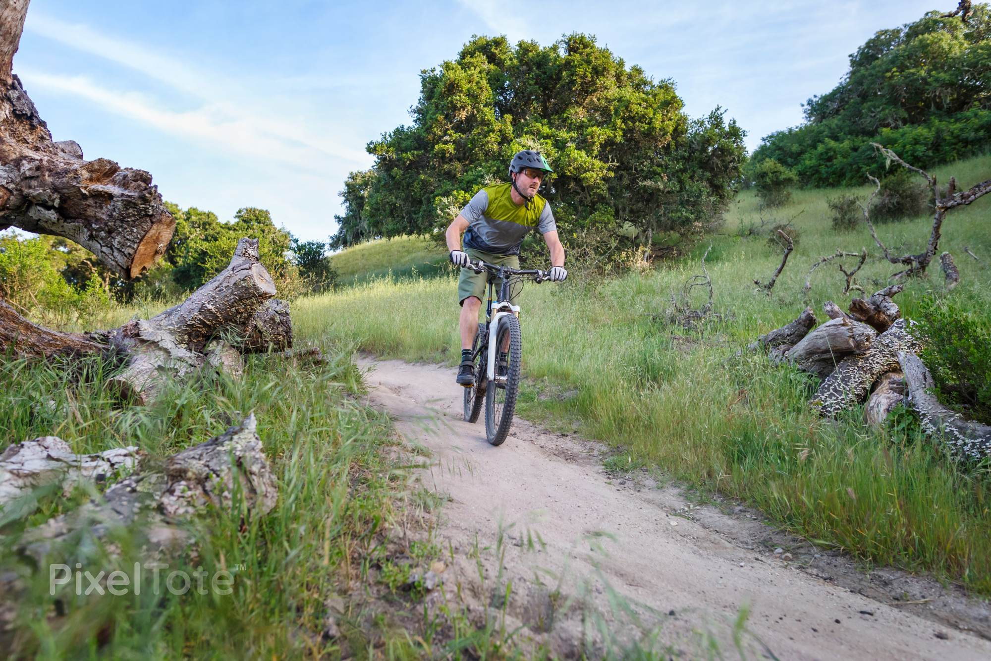 Mountain Biker Riding on a Singletrack Bike Trail Stock Photo ...