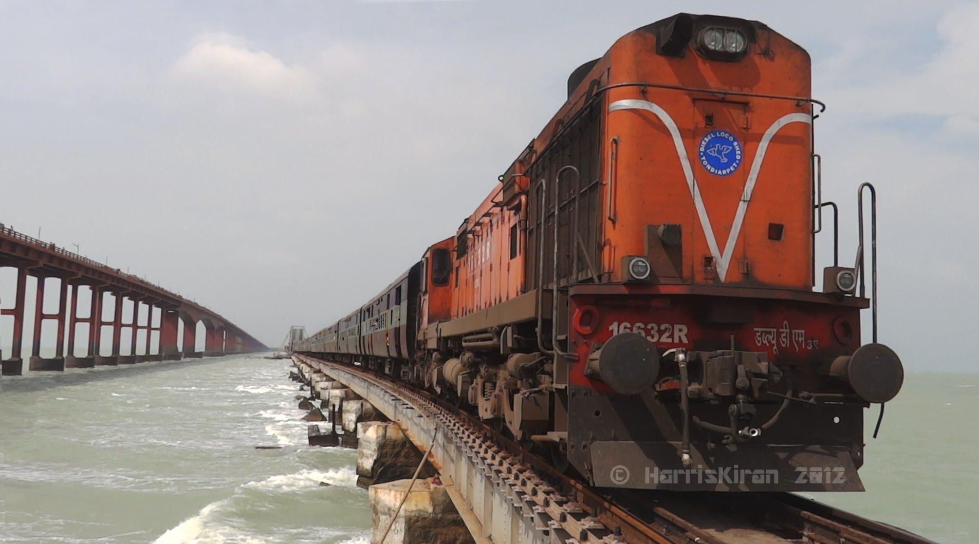 Train on bridge photo