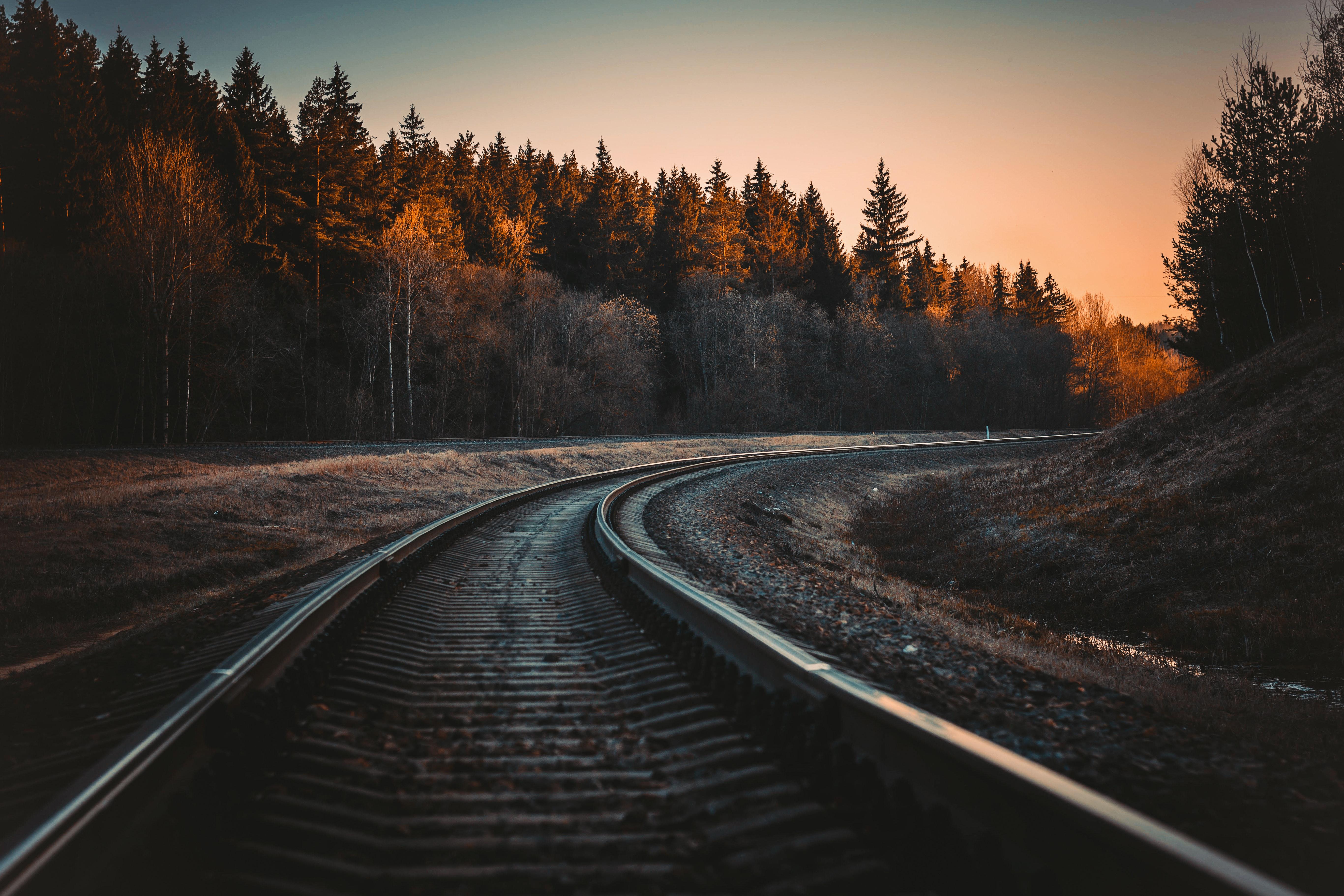 Train rail during golden hour photo