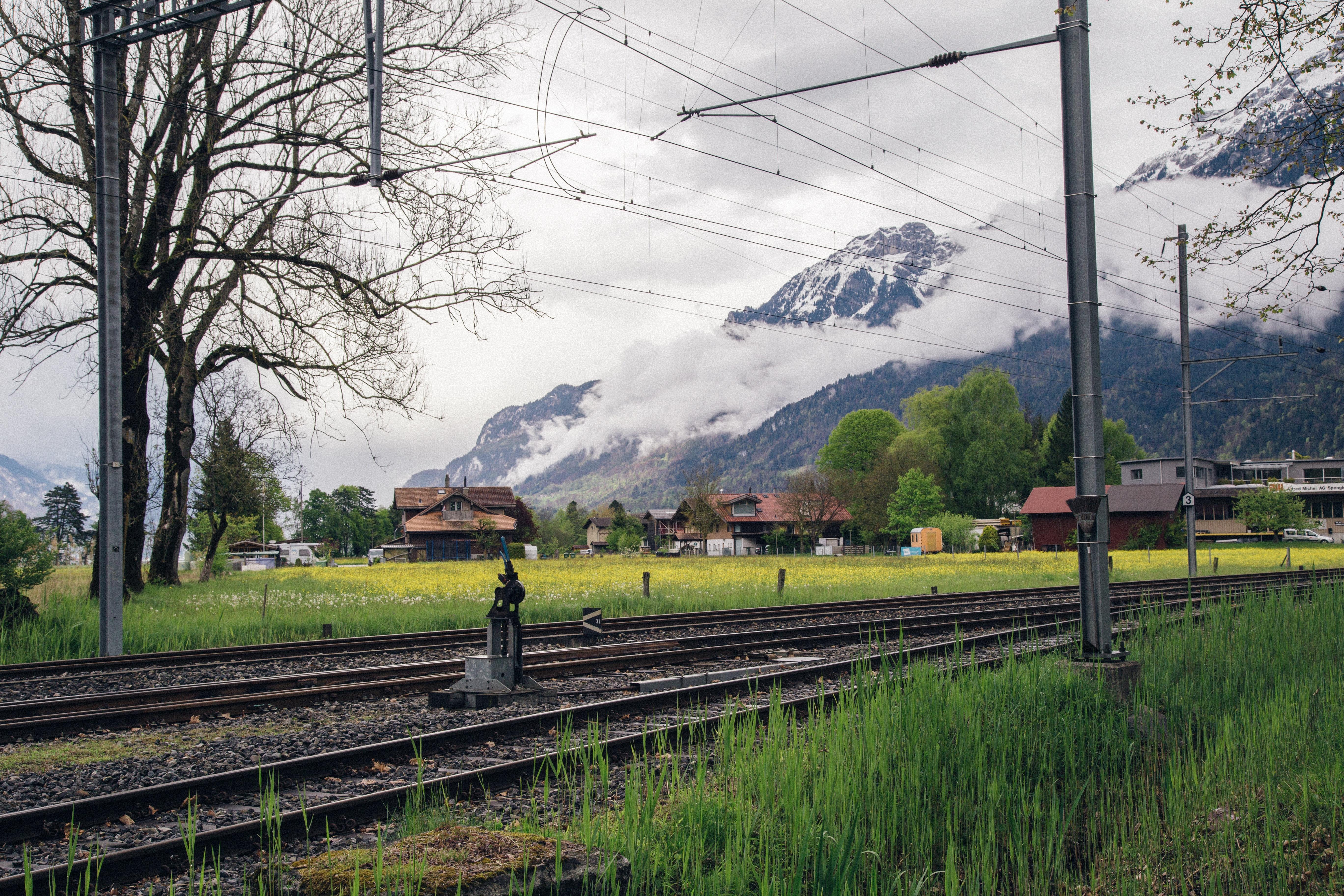 Train Railways, Clouds, Railroad track, Trees, Travel, HQ Photo