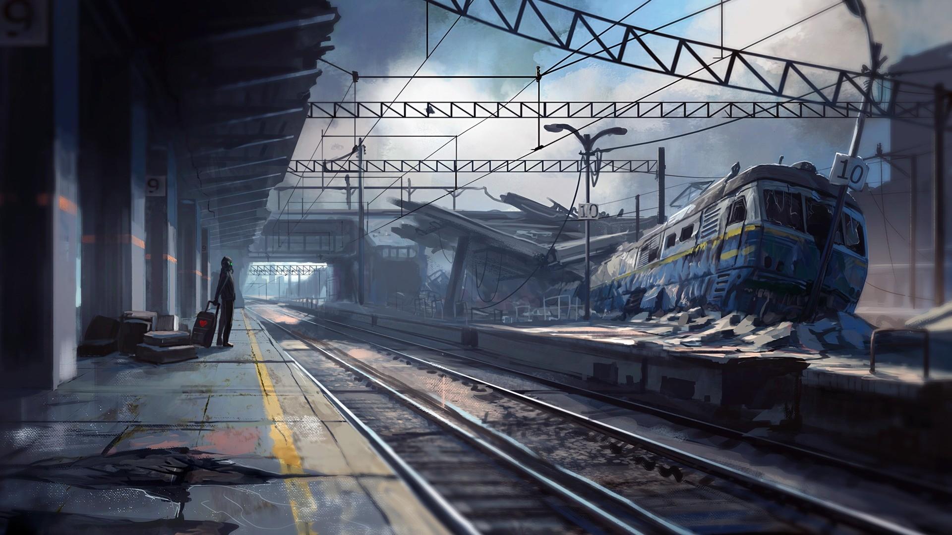 artwork, fantasy art, apocalyptic, train, train station - wallpaper ...