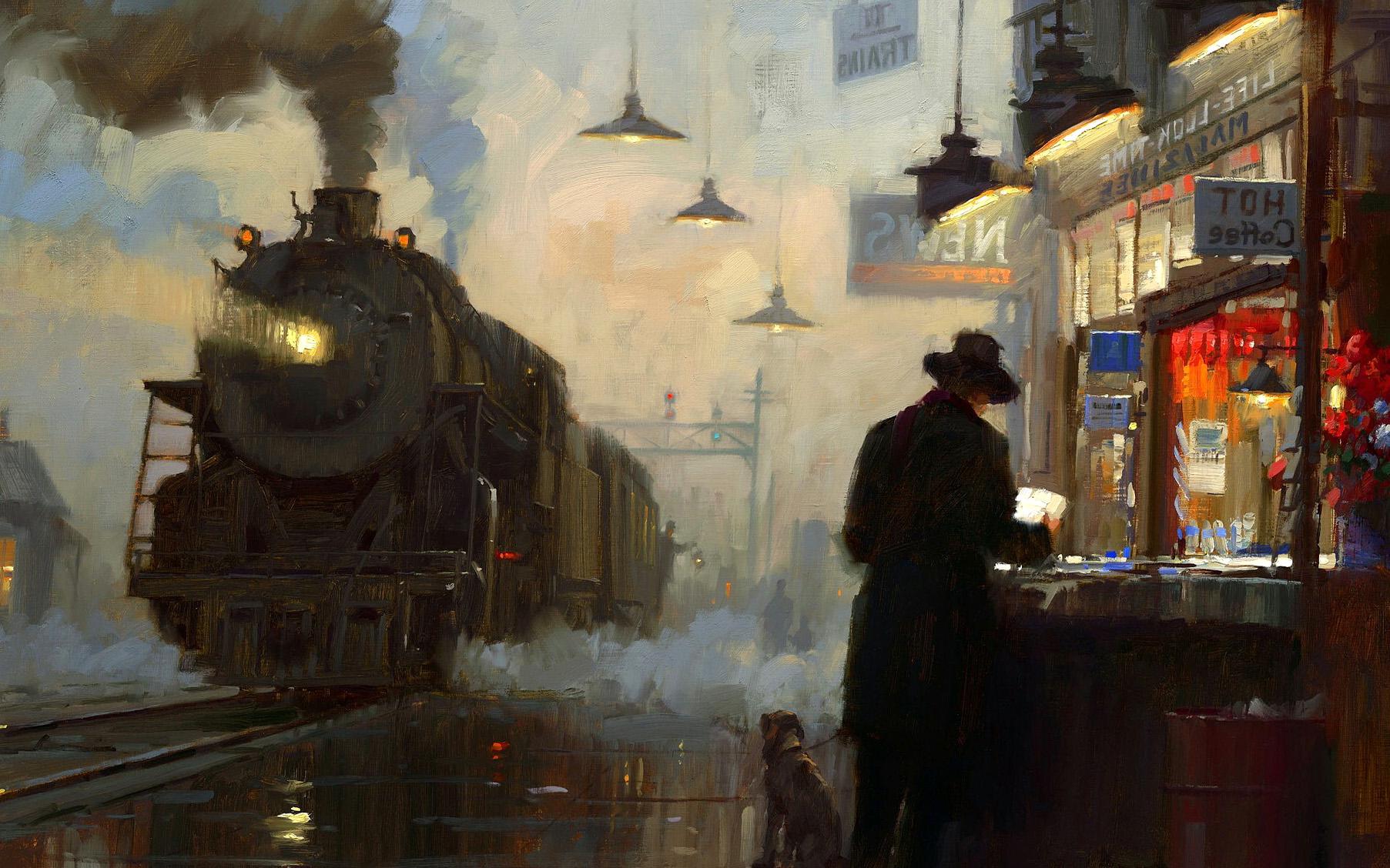 Train, Station, Painting, Digital, Art, Wallpaper, High Resolution ...