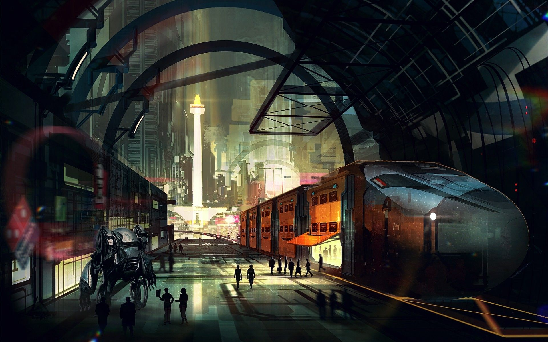 General 1920x1200 train railway train station sunlight digital art ...
