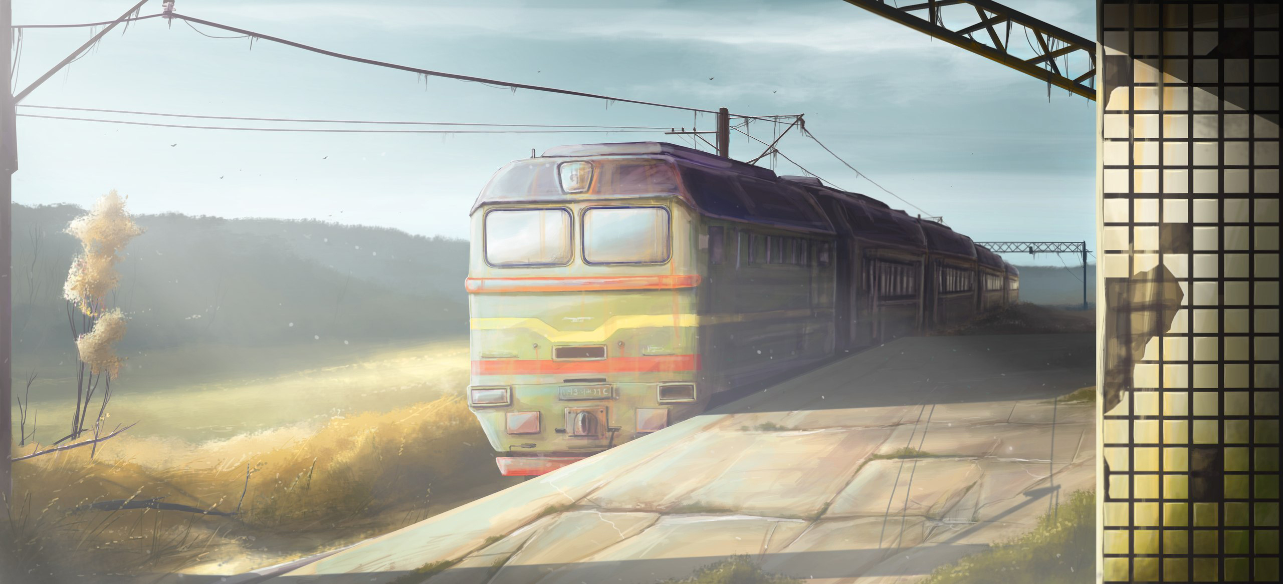 Original art station train morning trains wallpaper | 2560x1166 ...