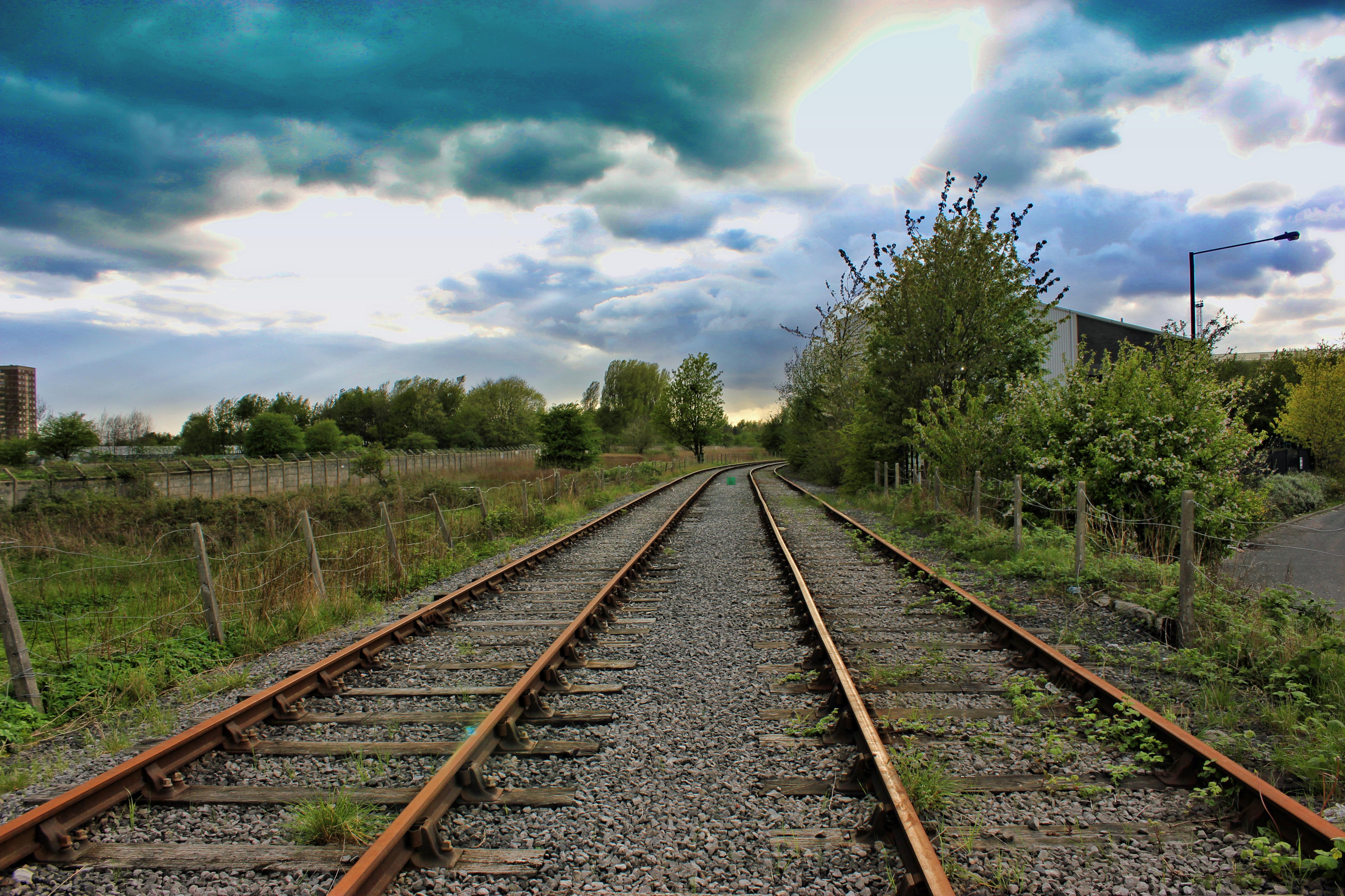 Train Tracks, Bush, Clouds, Rail, Rails, HQ Photo